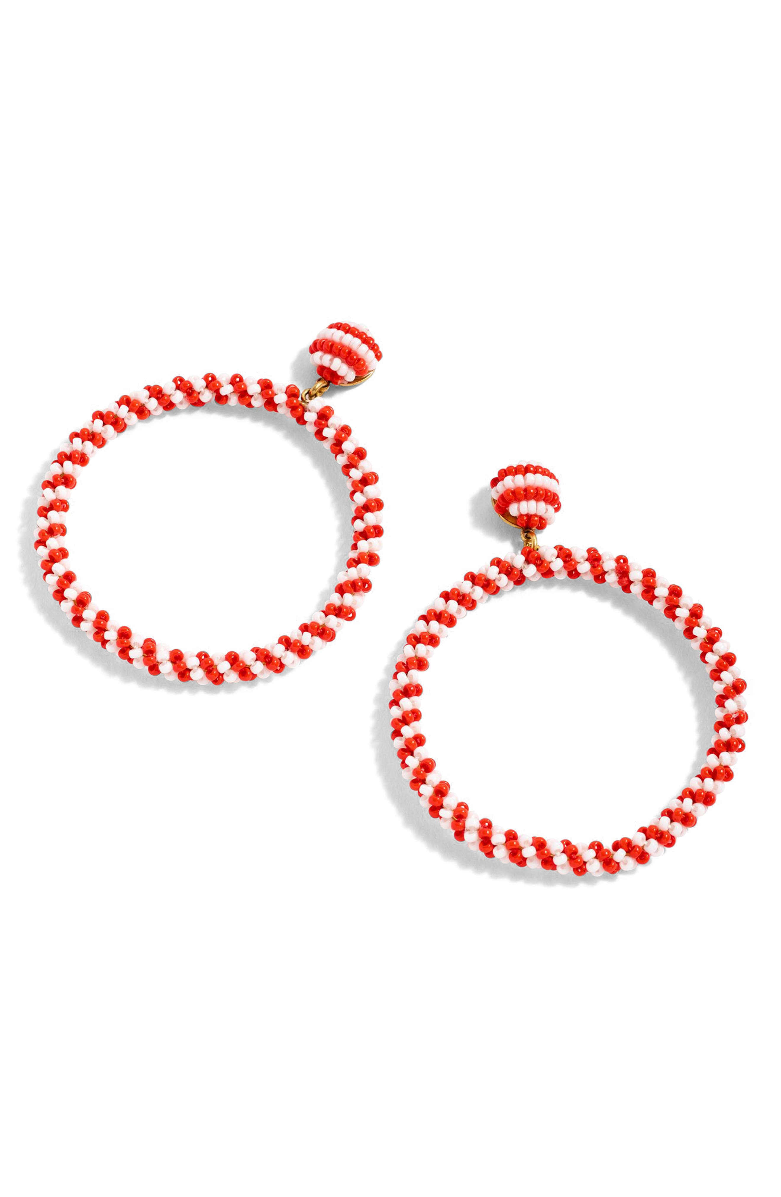 Beaded Drop Hoop Earrings,                             Main thumbnail 1, color,                             Red Stripe