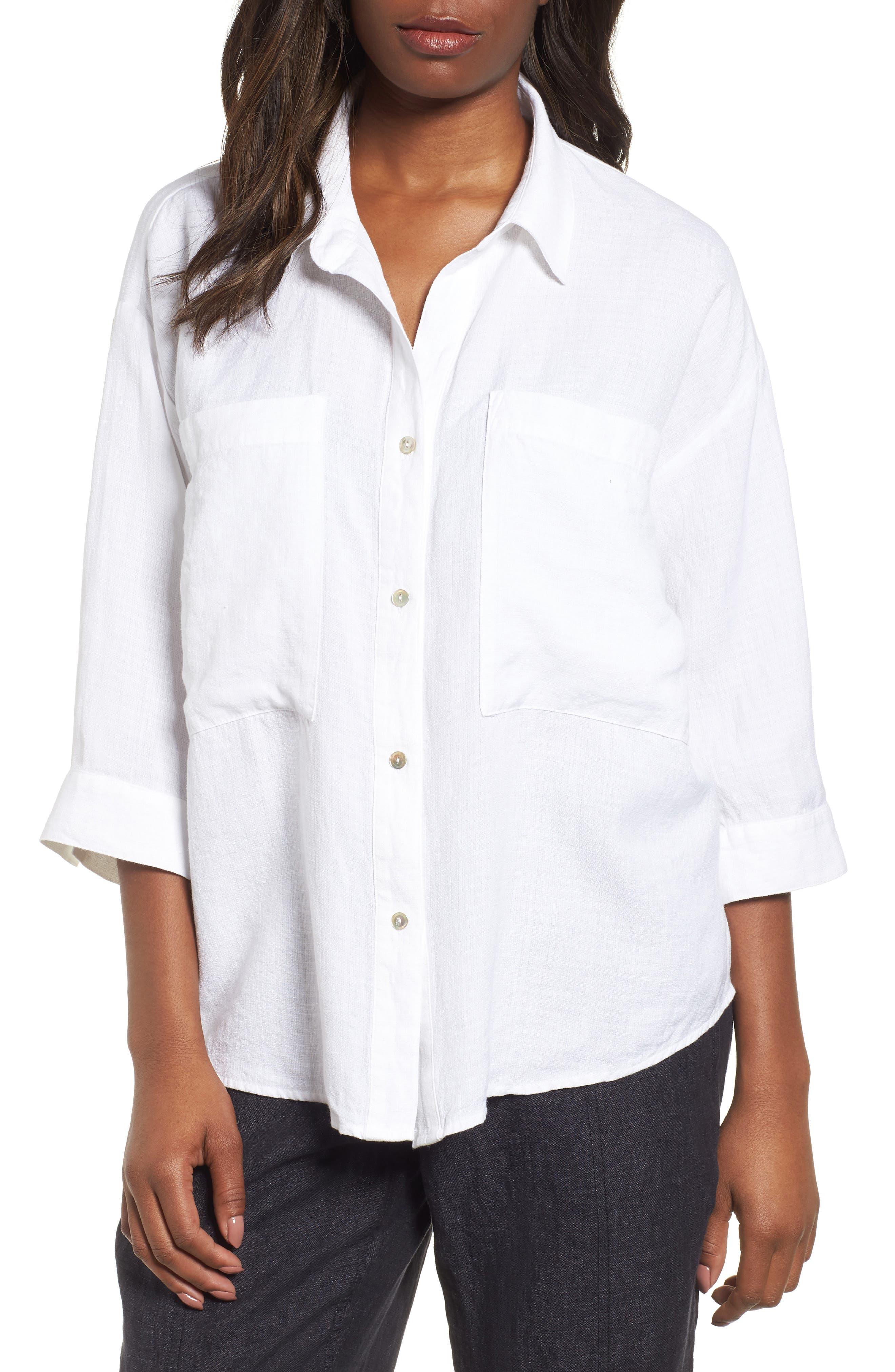 Woven Linen Blend Blouse,                         Main,                         color, White