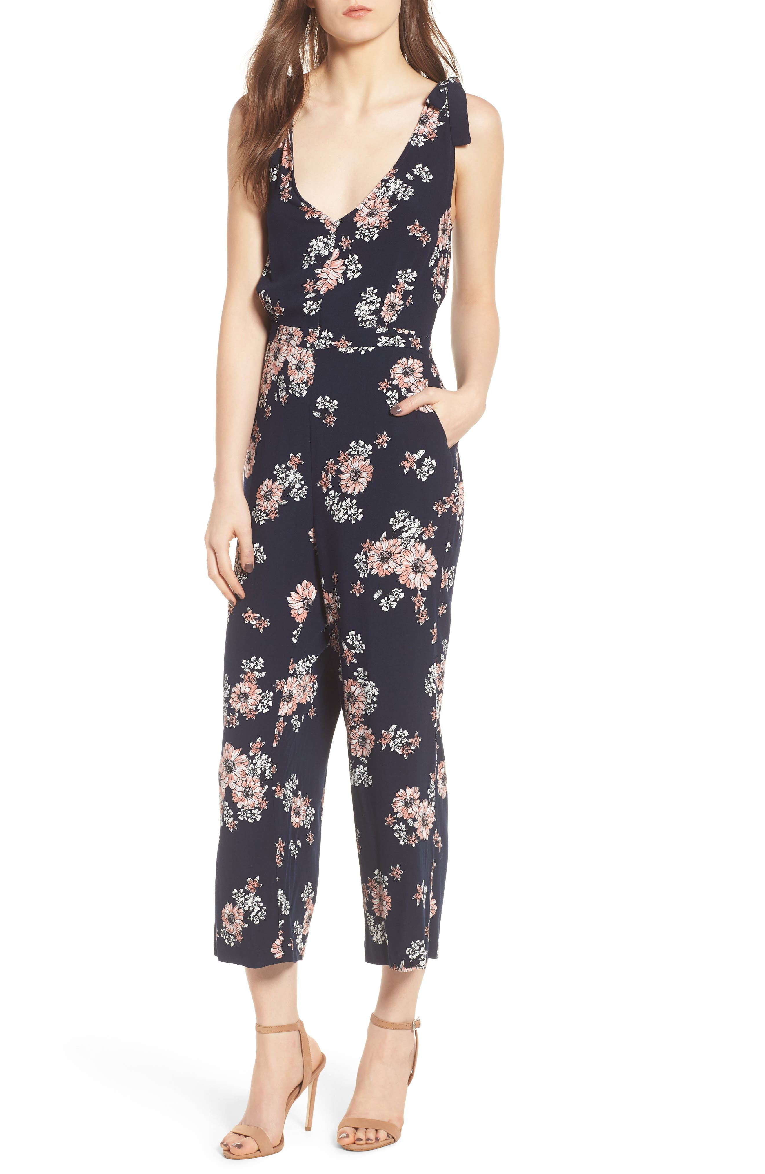 Alternate Image 1 Selected - cupcakes and cashmere Lili Floral Jumpsuit