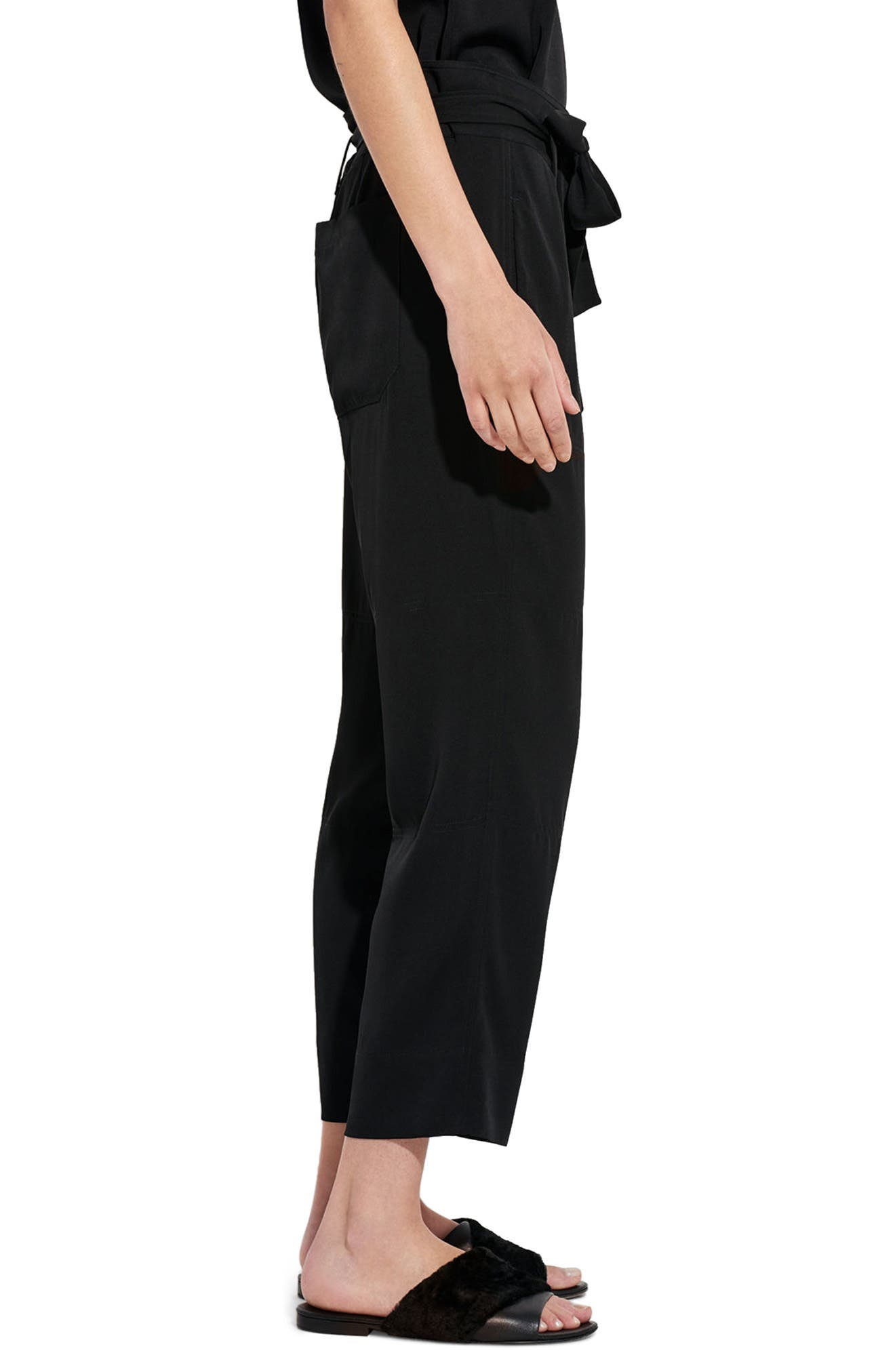 The Mirage High Waist Crop Straight Leg Pants,                             Alternate thumbnail 3, color,                             Black