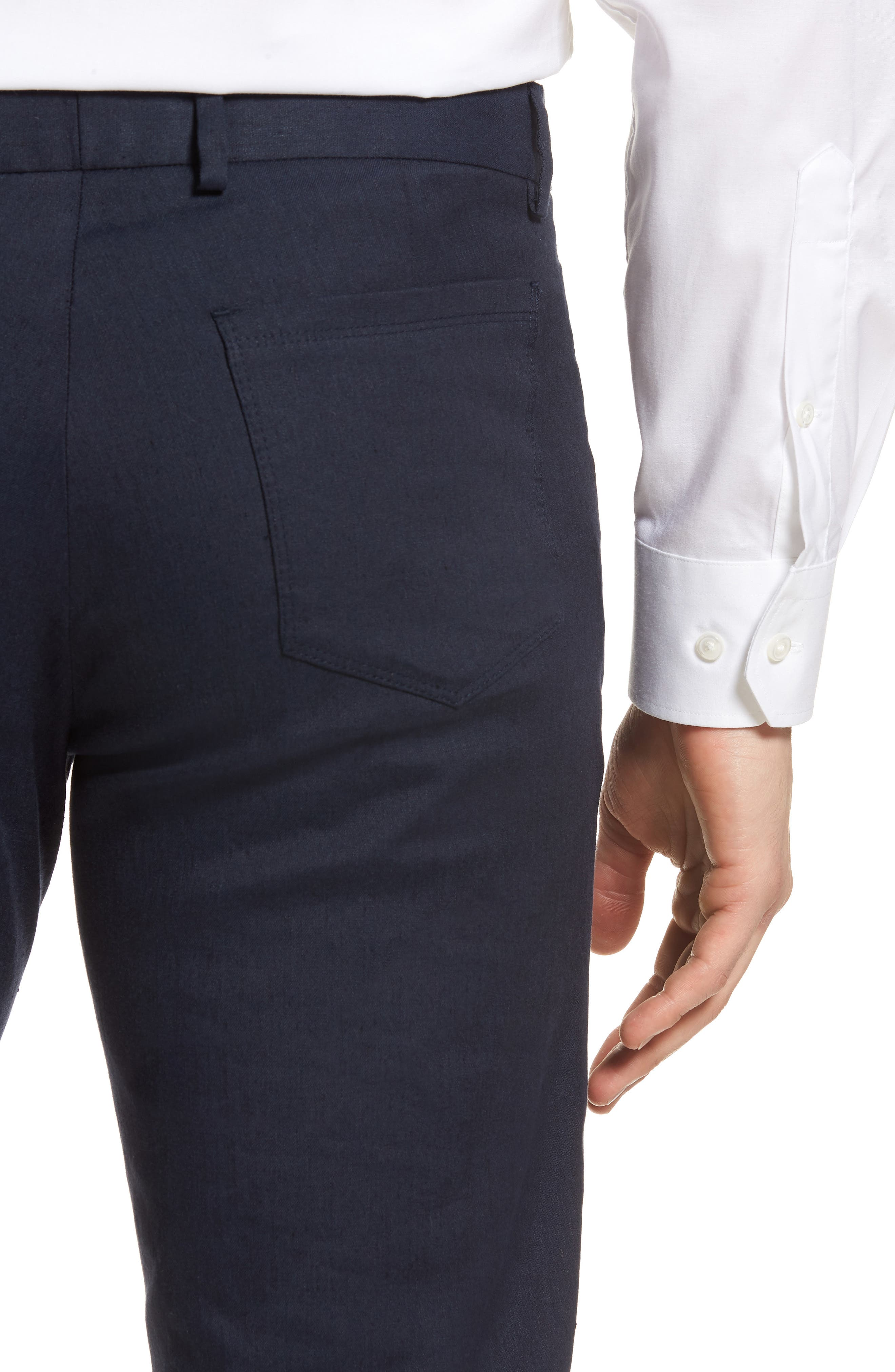 Flat Front Stretch Linen & Cotton Trousers,                             Alternate thumbnail 4, color,                             Navy