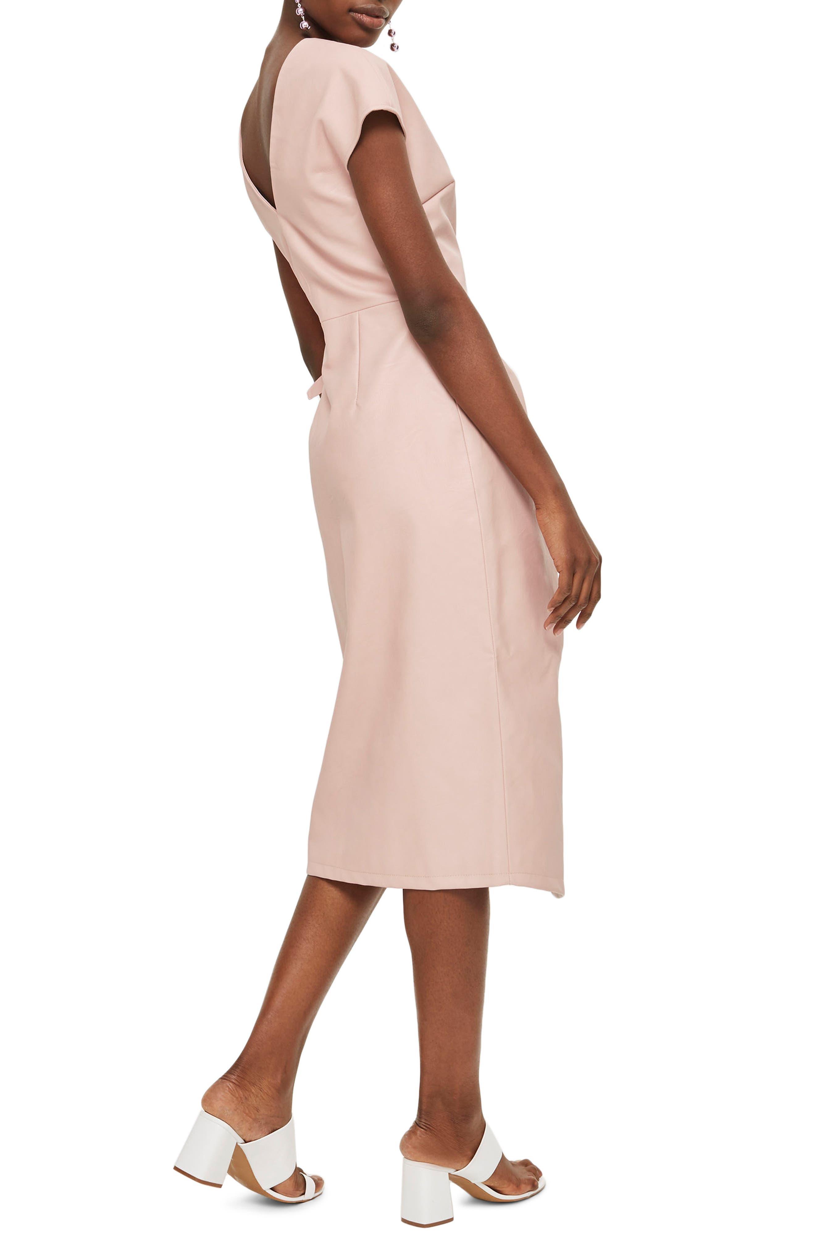 Wrap Midi Dress,                             Alternate thumbnail 2, color,                             Light Pink