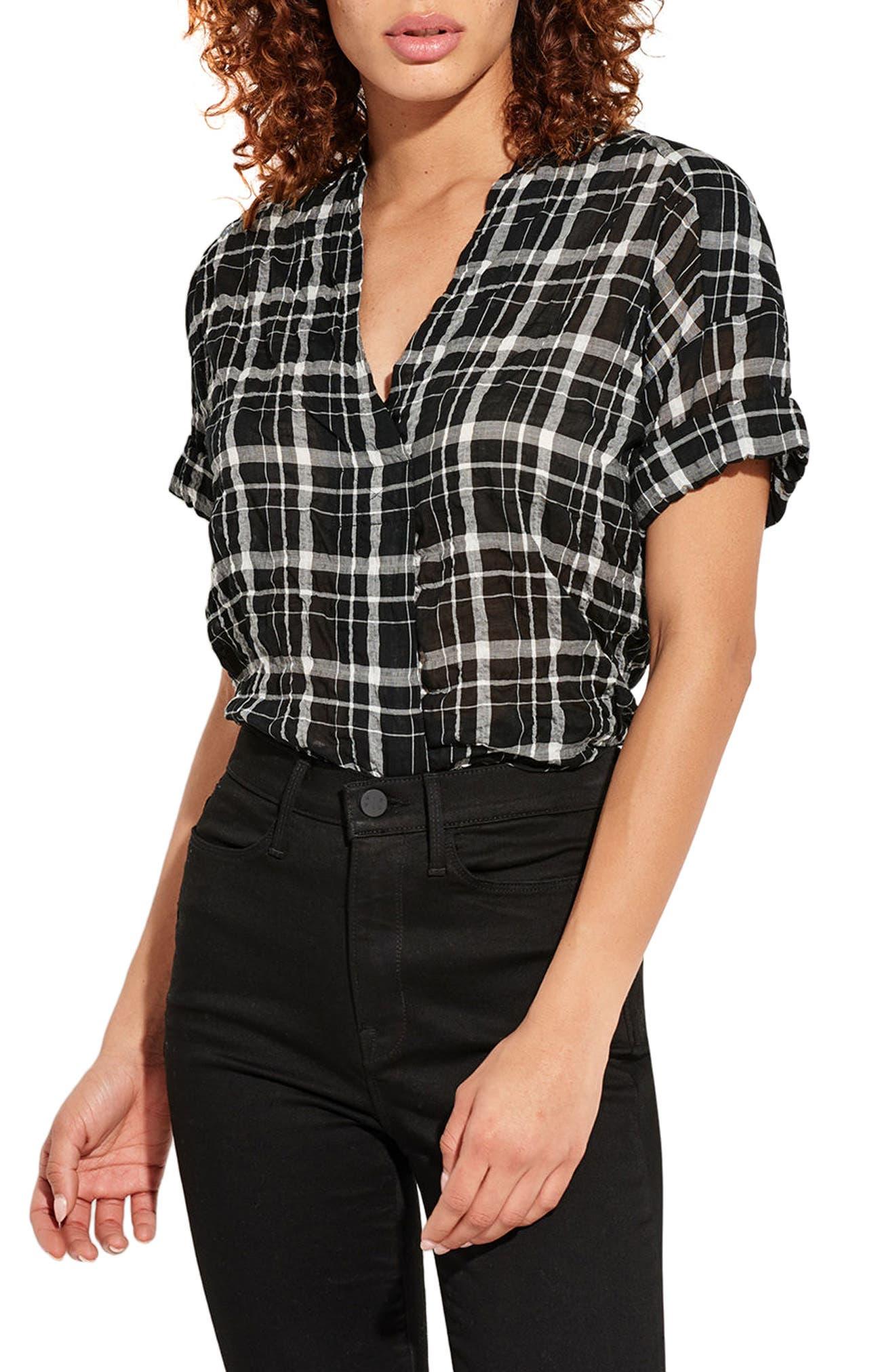 The Hero Plaid Shirt,                         Main,                         color, Black/ White Plaid