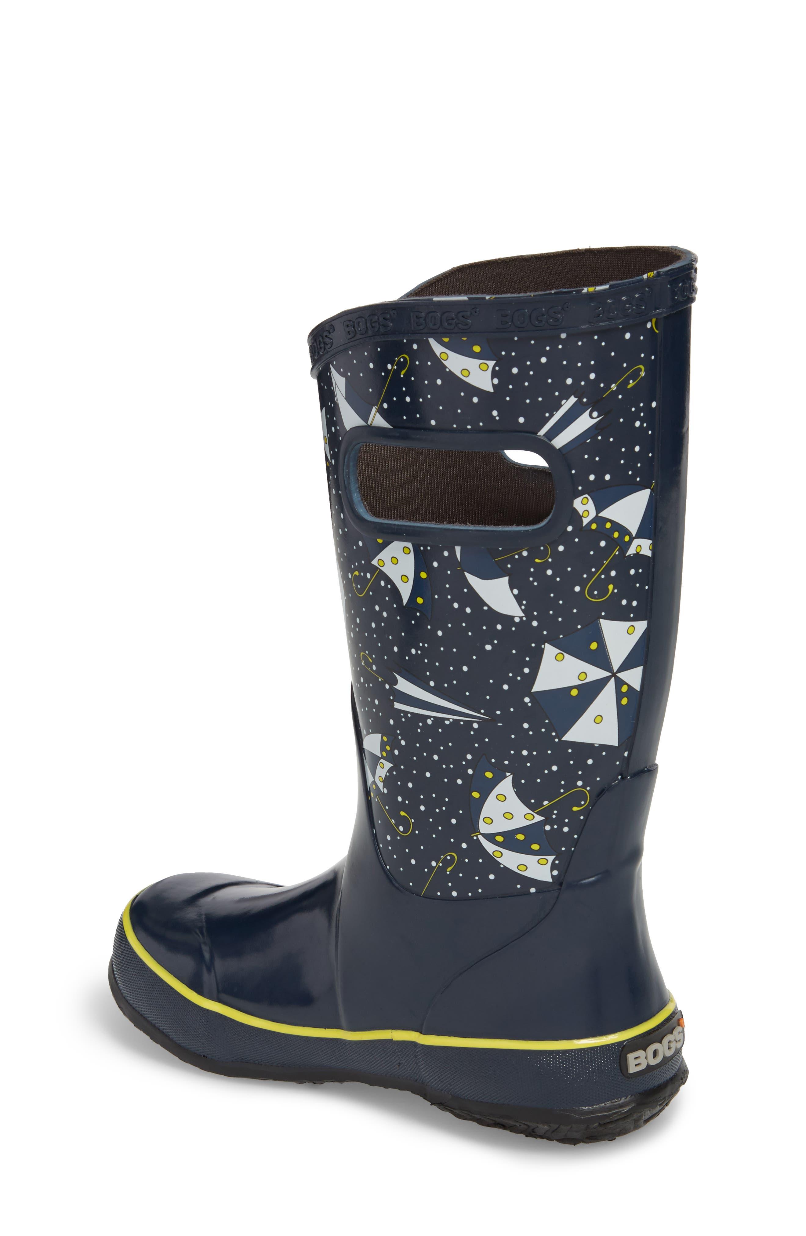 Umbrellas Waterproof Rubber Rain Boot,                             Alternate thumbnail 2, color,                             Dark Blue Multi