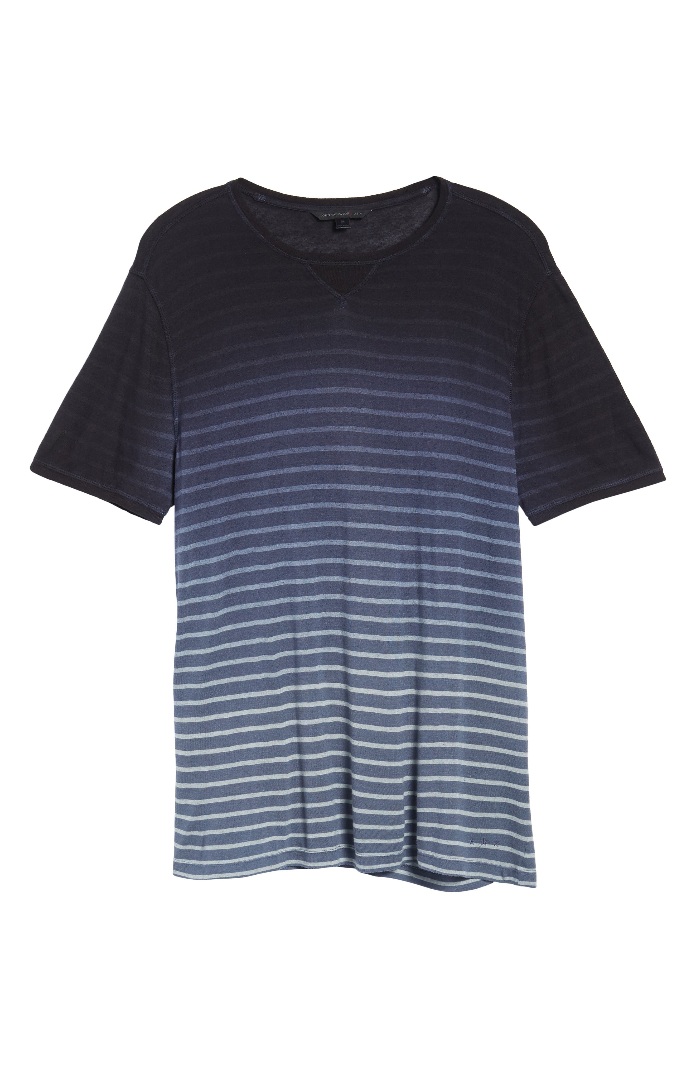 Ombré Stripe T-Shirt,                             Alternate thumbnail 6, color,                             Lake Blue