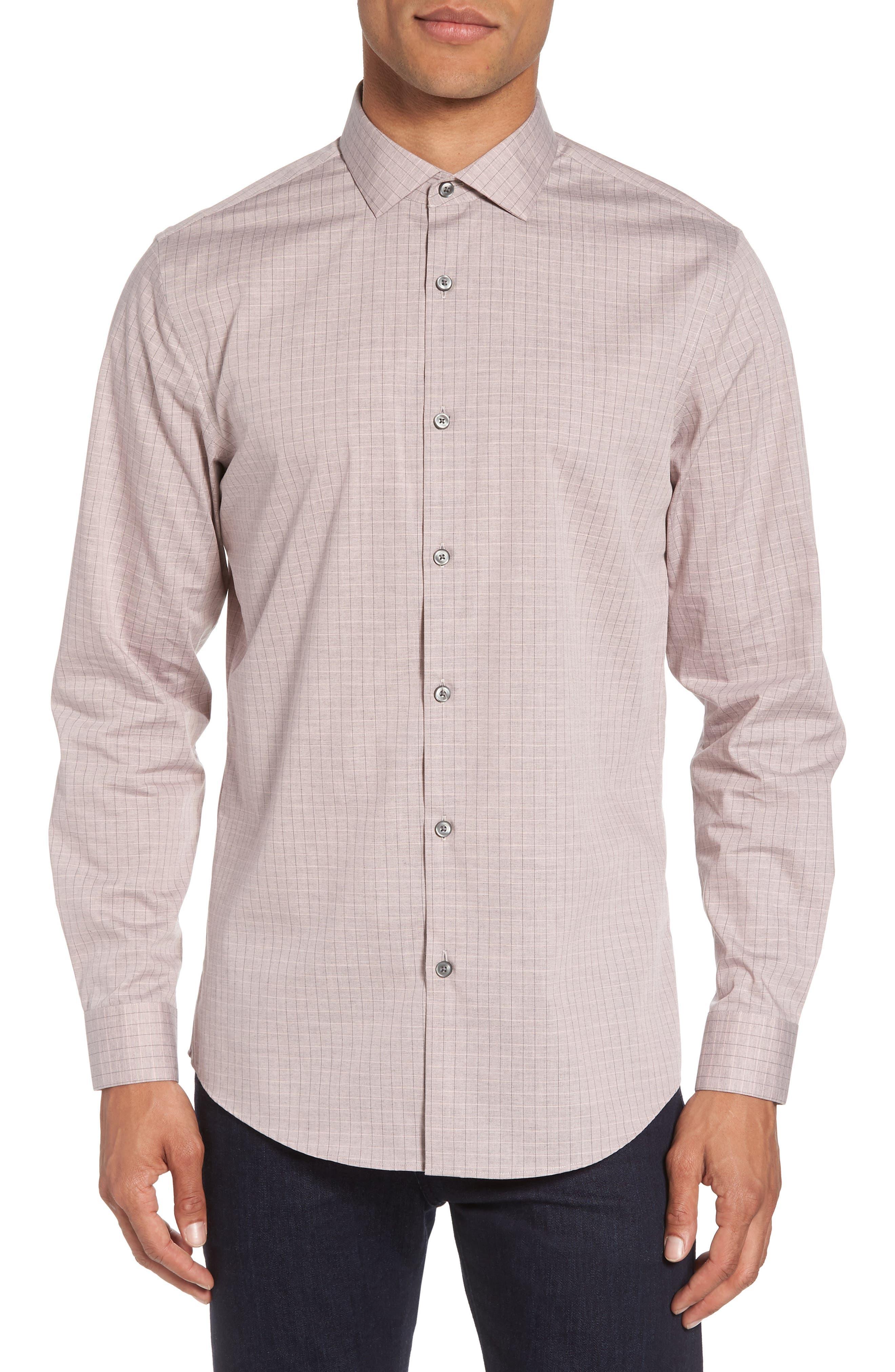 Grid Sport Shirt,                             Main thumbnail 1, color,                             Pink Silver Heather Grid