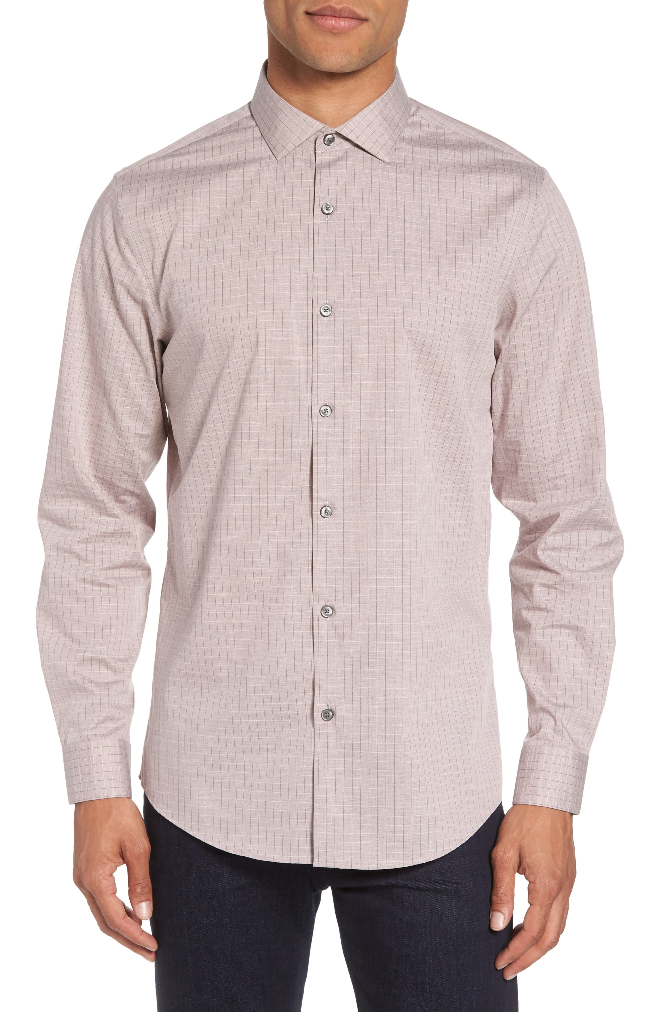Grid Sport Shirt,                         Main,                         color, Pink Silver Heather Grid