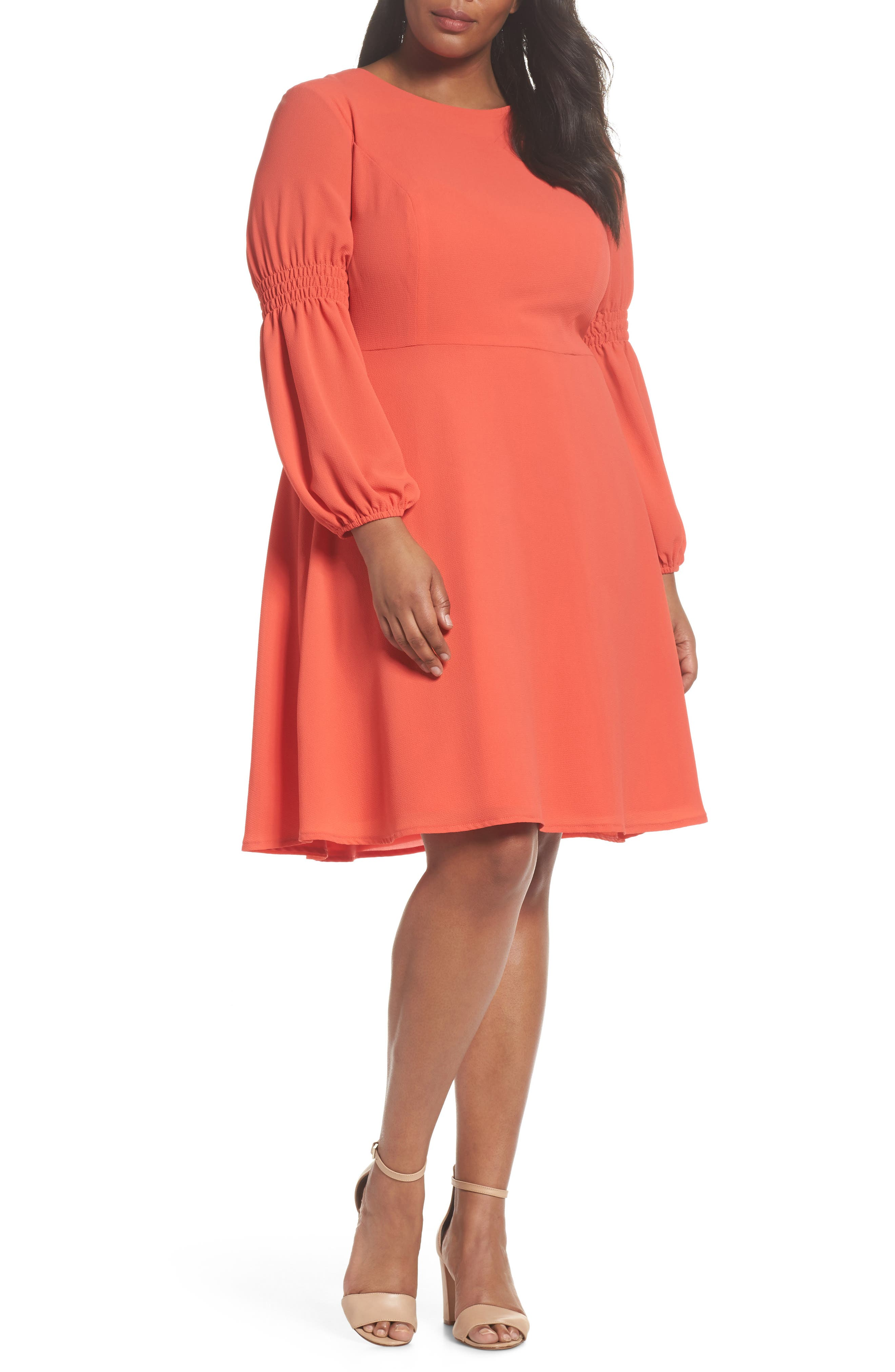 Smocked Puff Sleeve Fit & Flare Dress,                         Main,                         color, Begonia