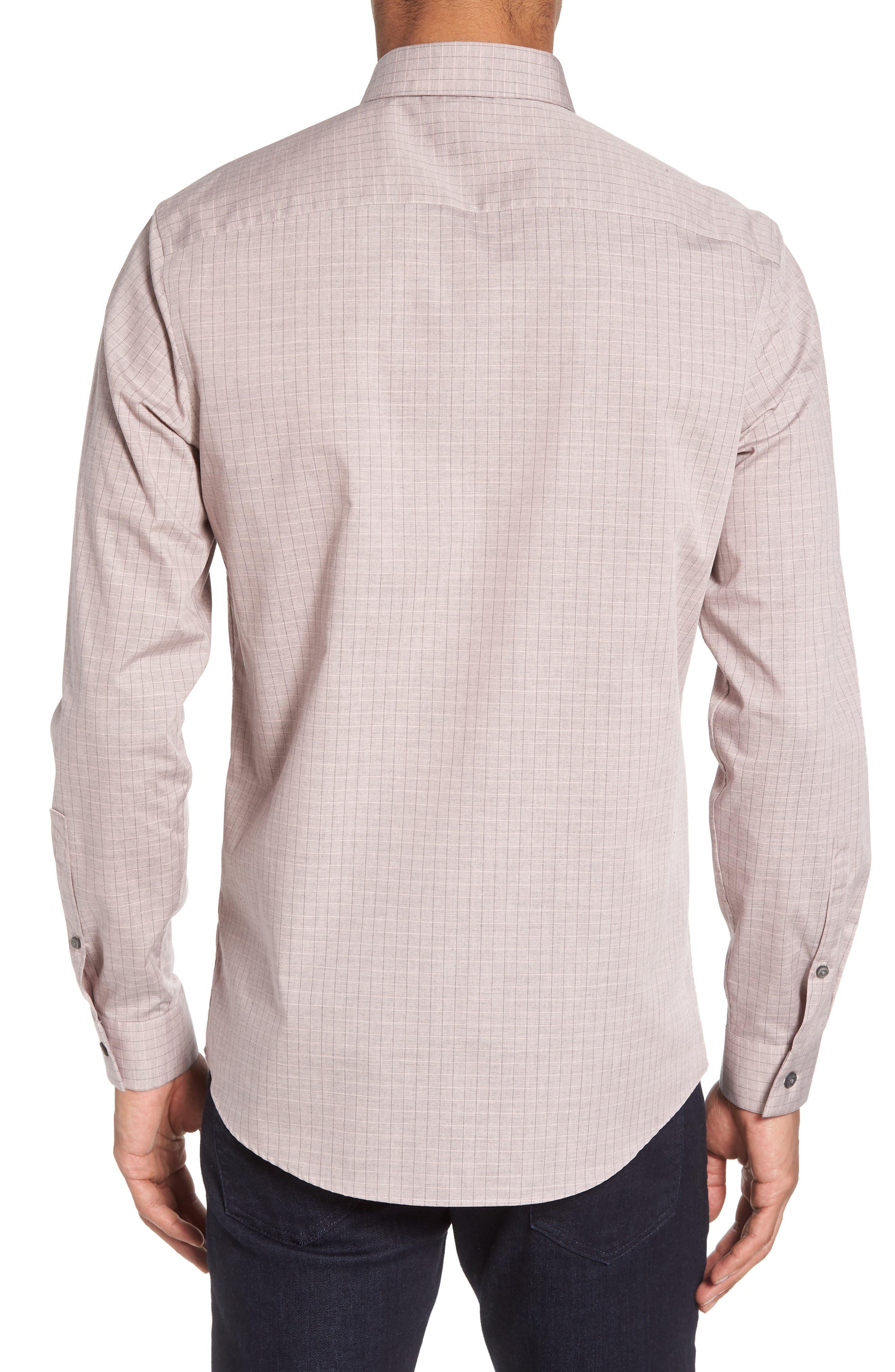 Grid Sport Shirt,                             Alternate thumbnail 3, color,                             Pink Silver Heather Grid