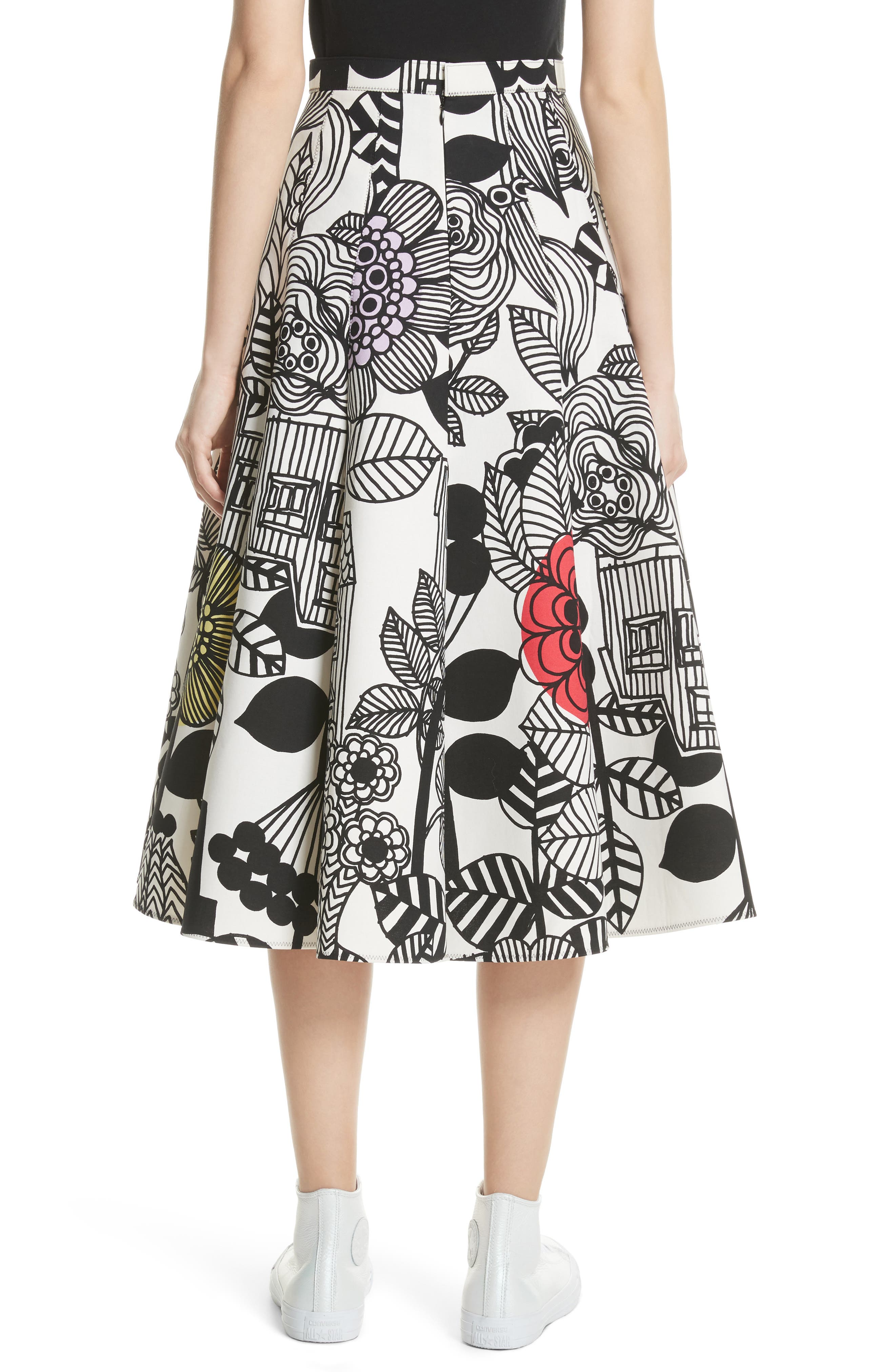 x Marimekko Vegetable Print Cotton Skirt,                             Alternate thumbnail 2, color,                             Wht/ Blk/ Ylw