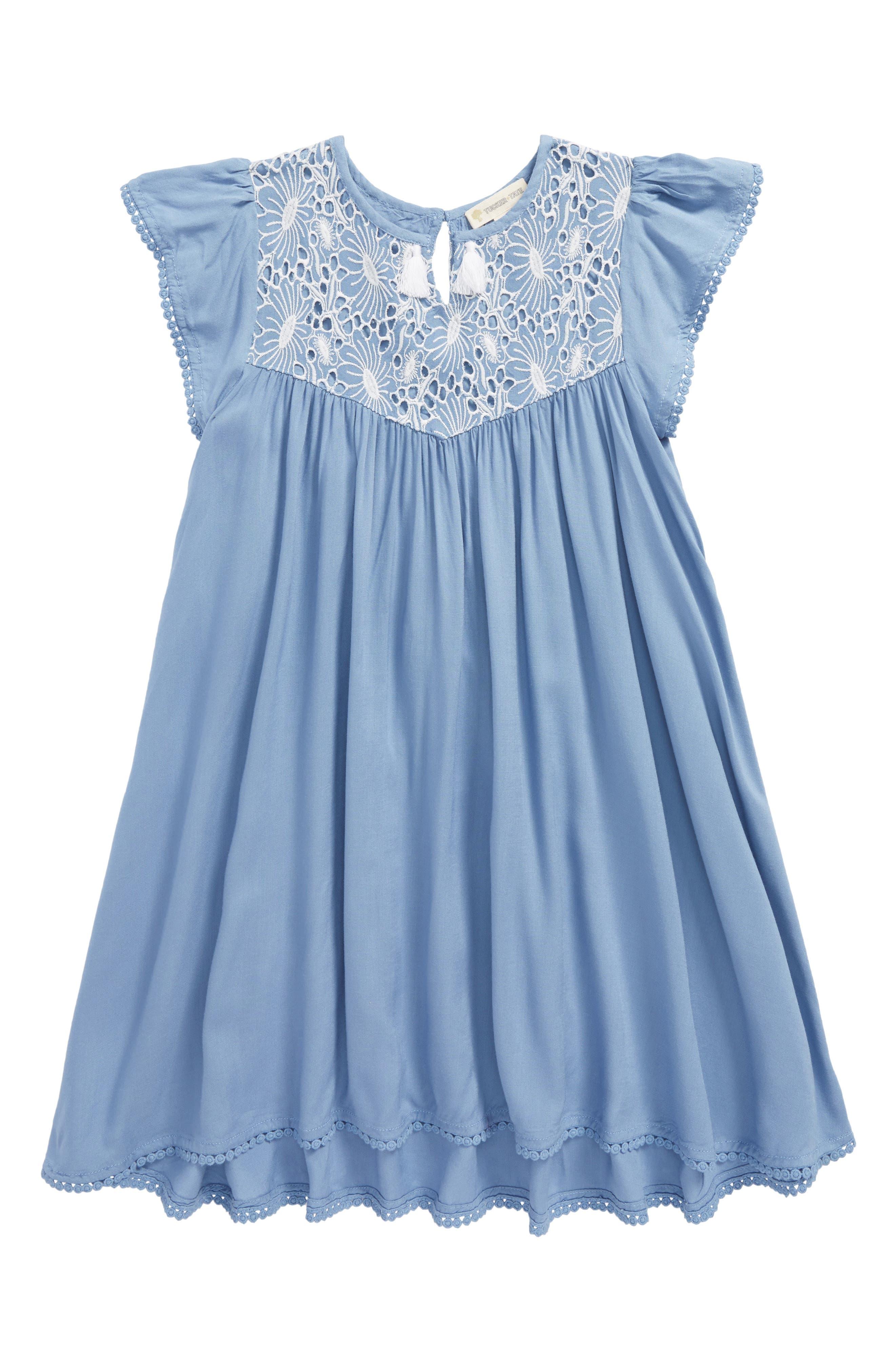 Embroidered Tassel Dress,                         Main,                         color, Blue