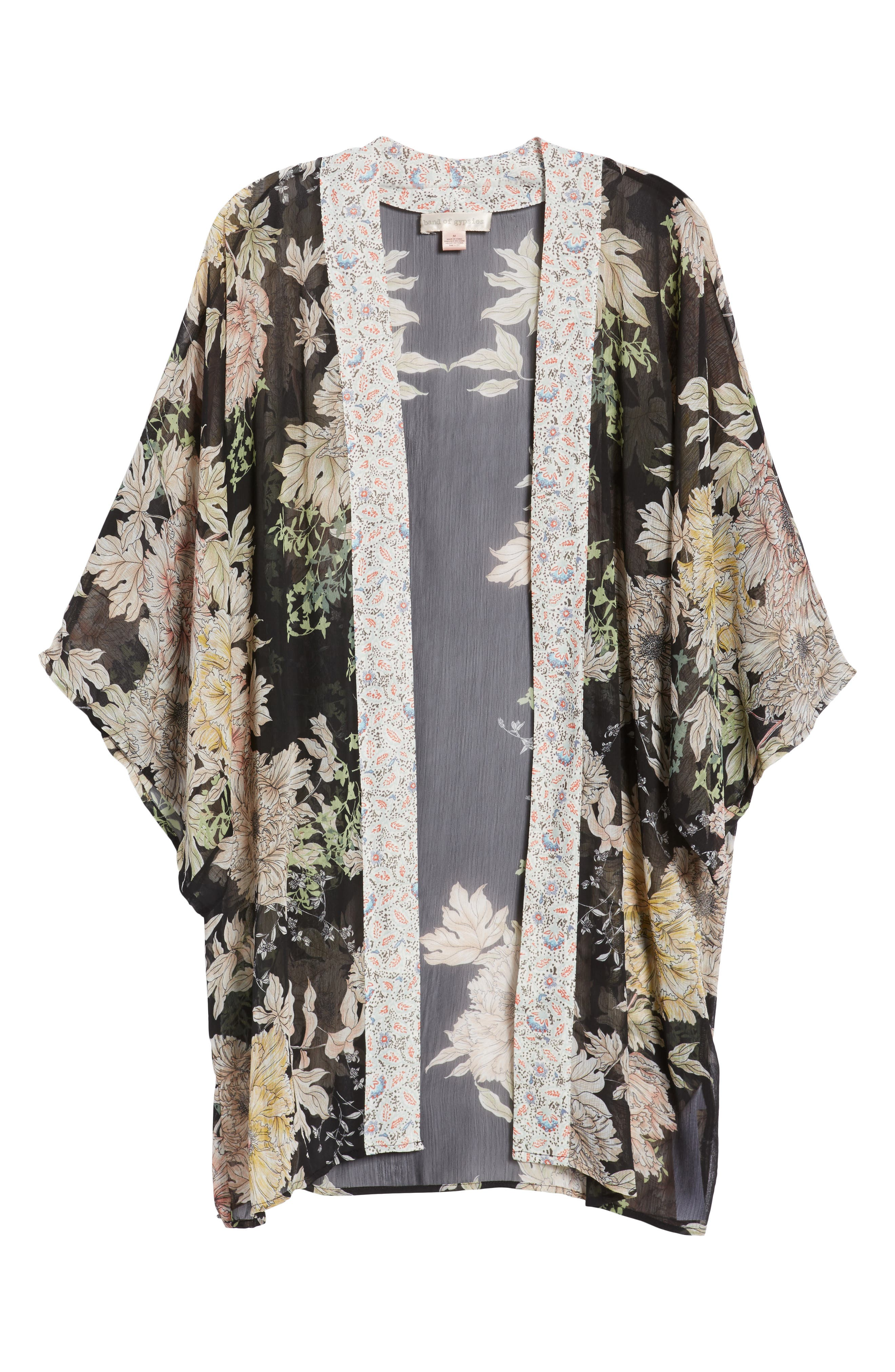 Floral Print Kimono,                             Alternate thumbnail 7, color,                             Black Gold Pink