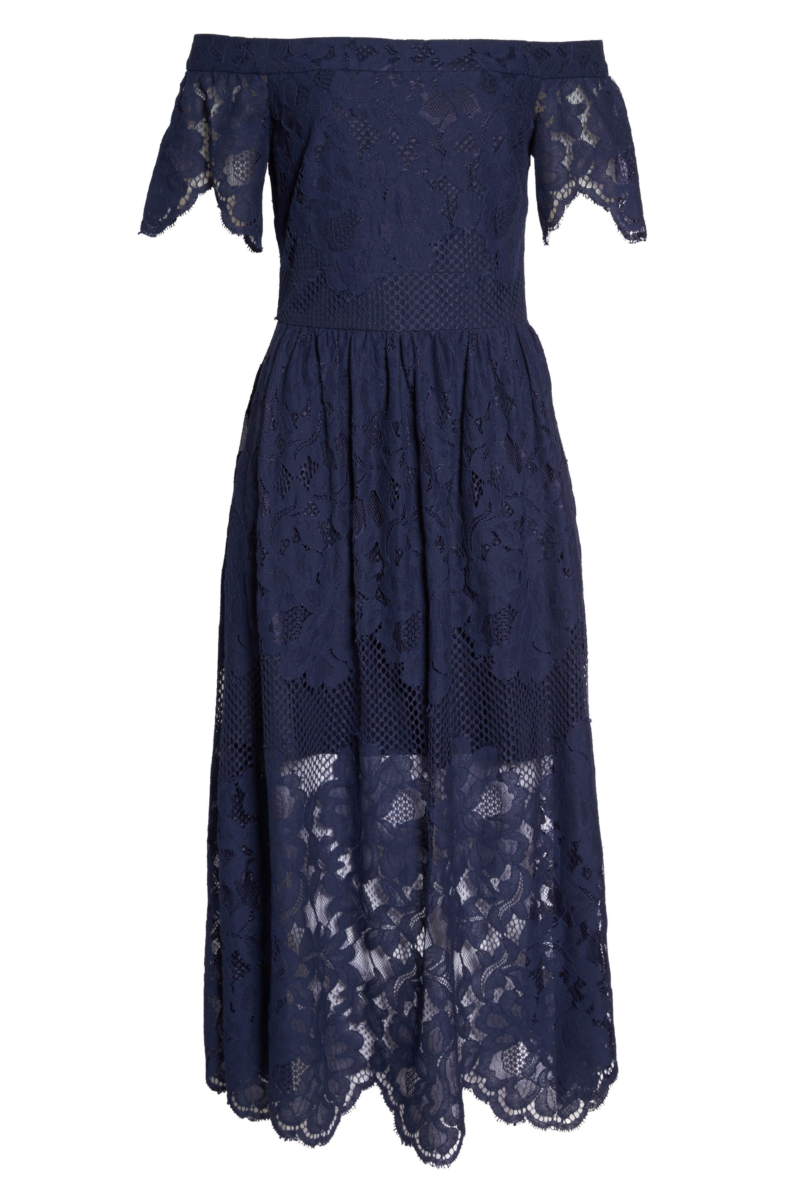 Off the Shoulder Lace Midi Dress,                             Alternate thumbnail 6, color,                             Navy