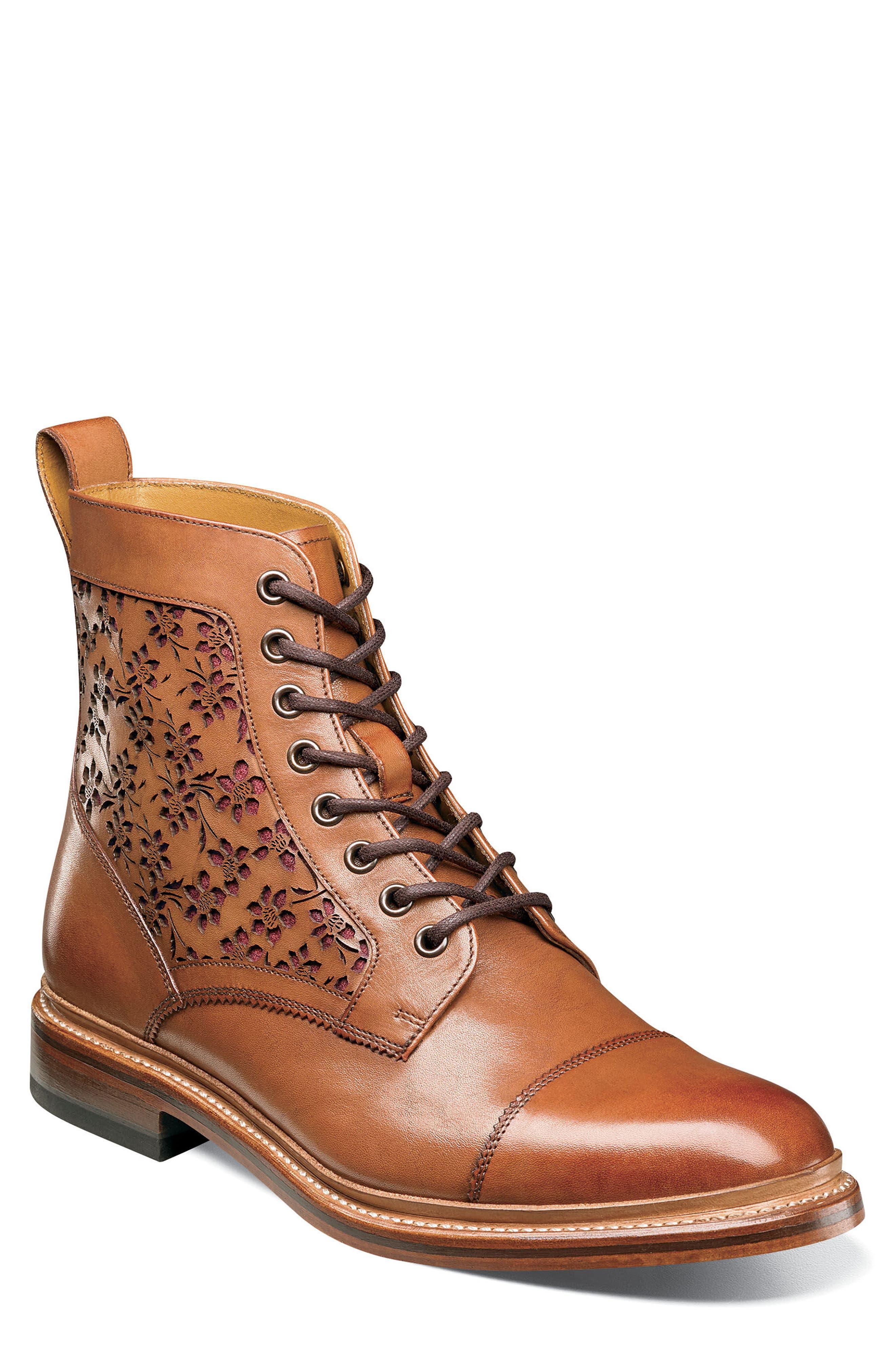 M2 Laser Cut Boot,                         Main,                         color, Cognac Leather