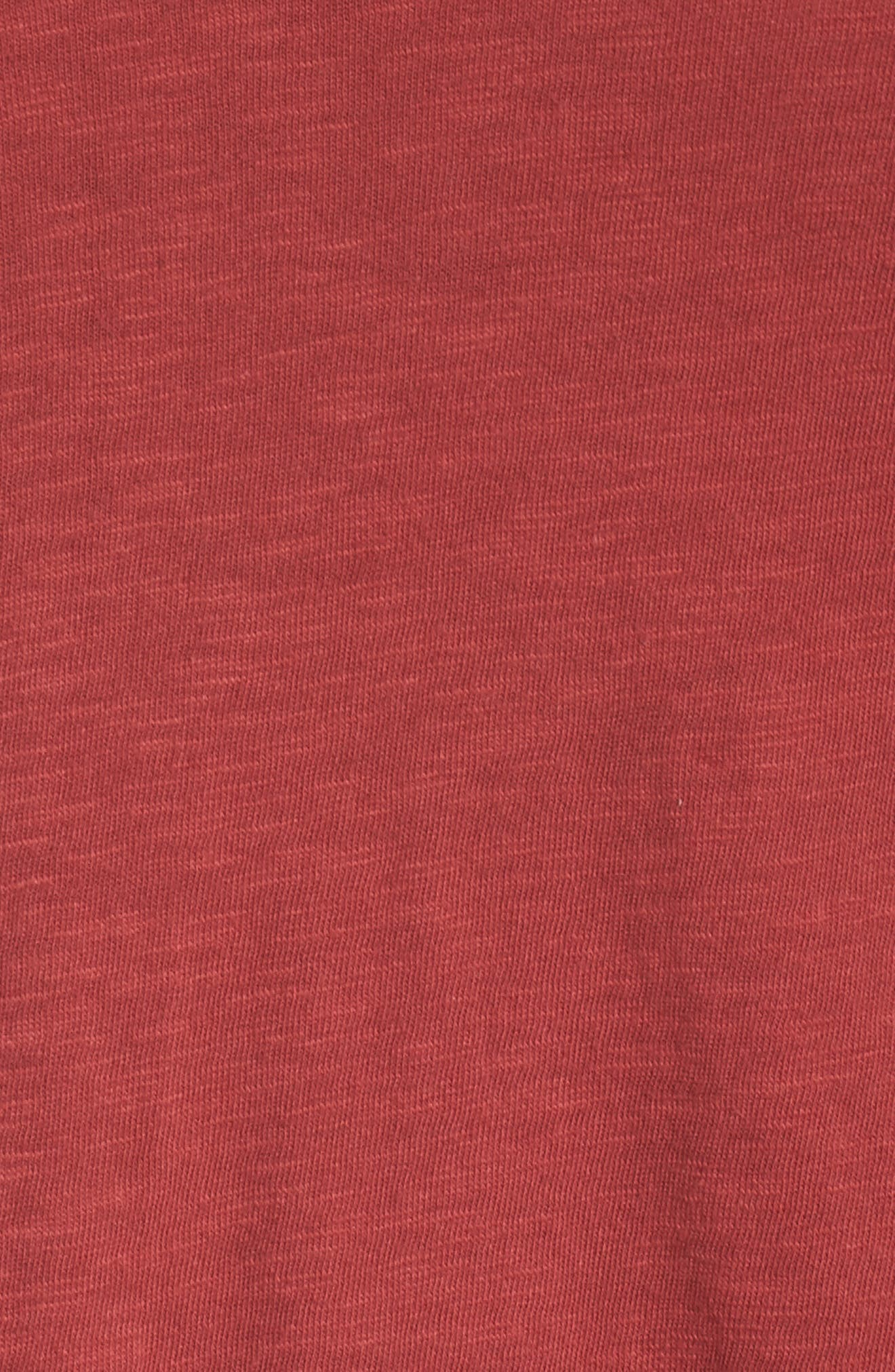 Pleat Sleeve Cotton Tee,                             Alternate thumbnail 5, color,                             Red Earth