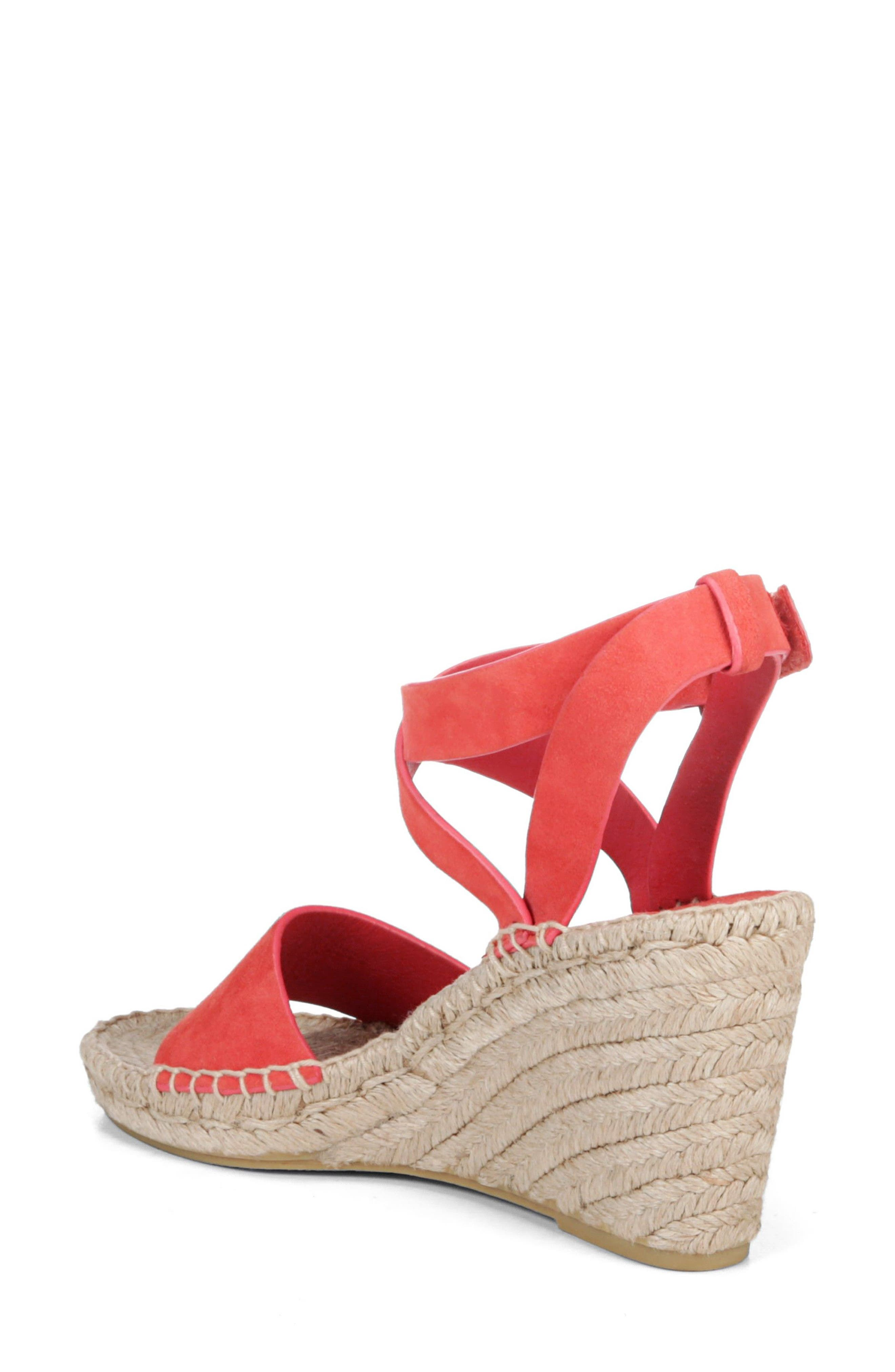 Nevada Espadrille Wedge Sandal,                             Alternate thumbnail 2, color,                             Poppy Red Suede