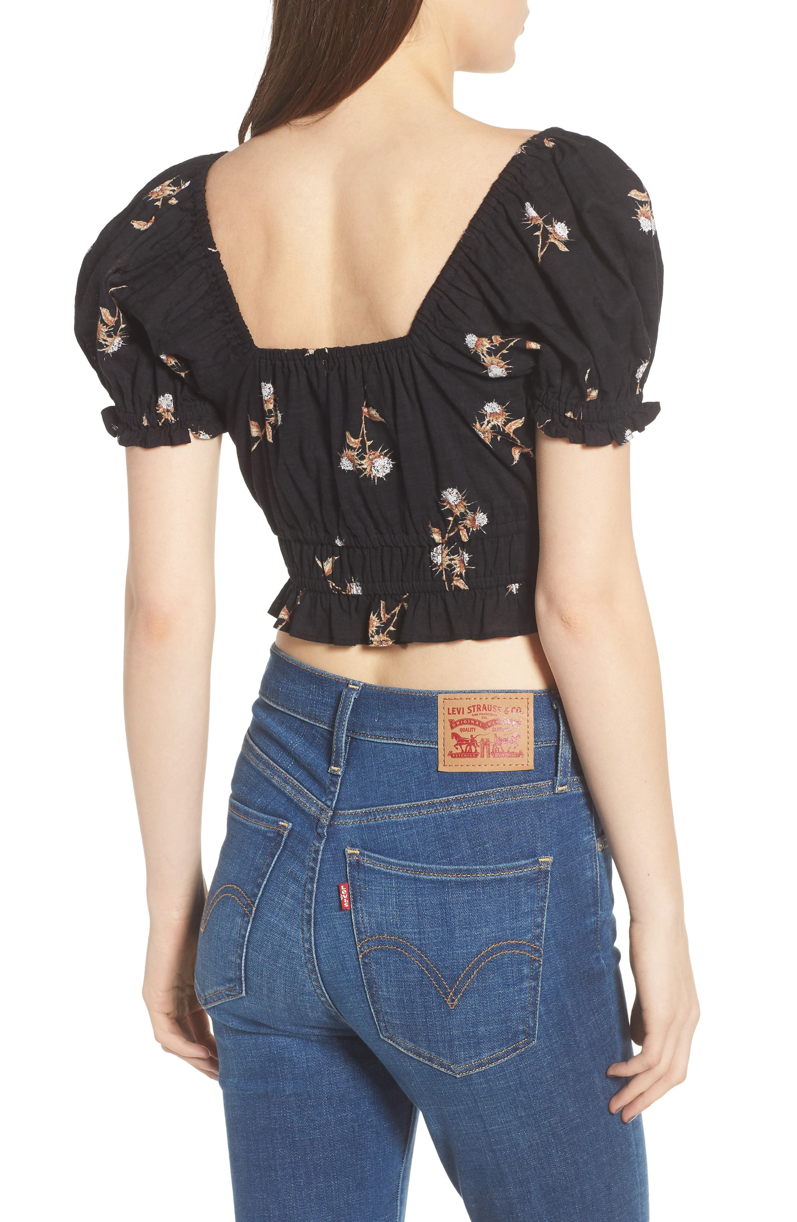 Puff Sleeve Crop Top,                             Alternate thumbnail 3, color,                             Black Washy Bouquet