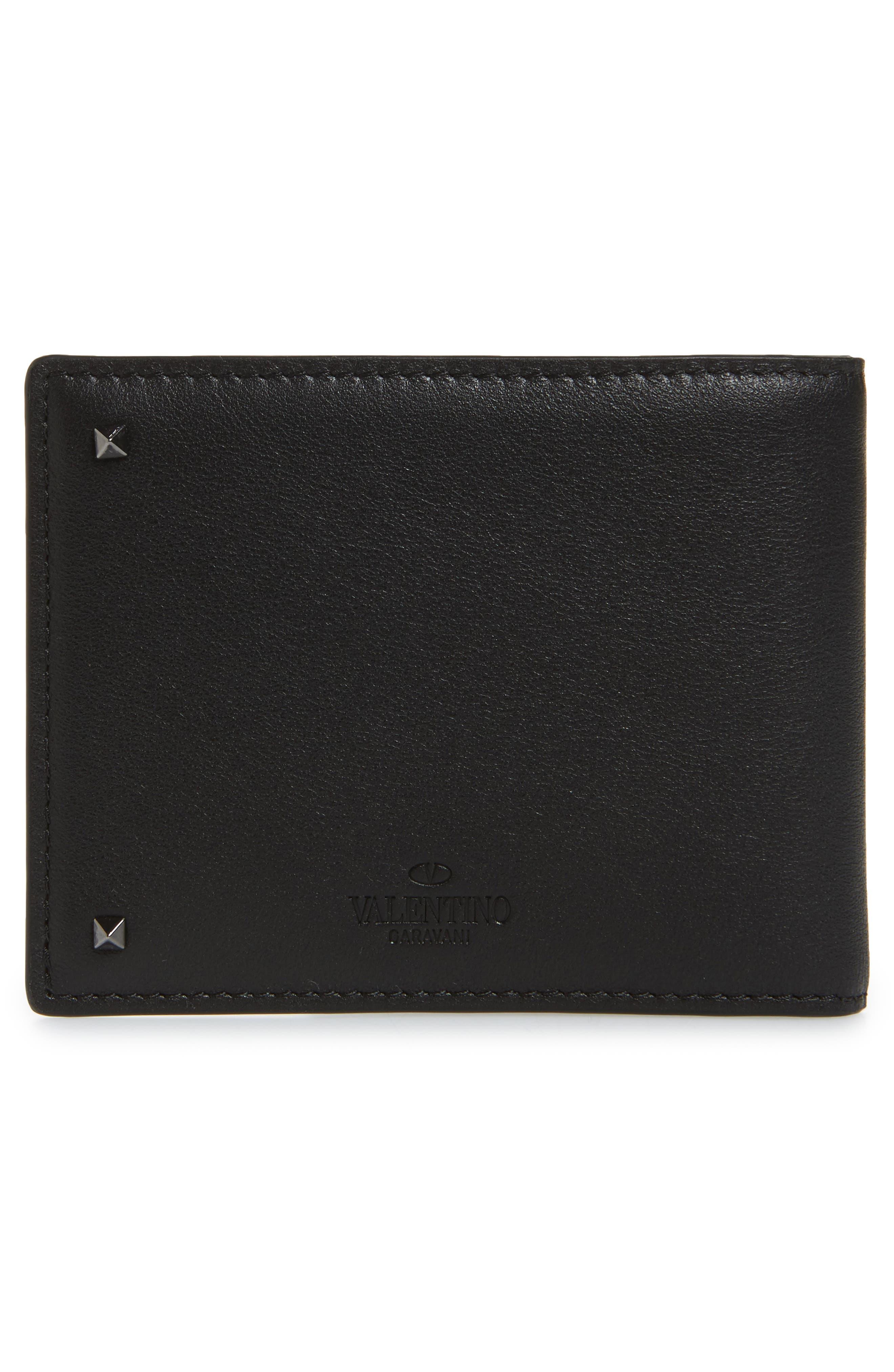 GARAVANI Stud Leather Money Clip Card Case,                             Alternate thumbnail 3, color,                             Black