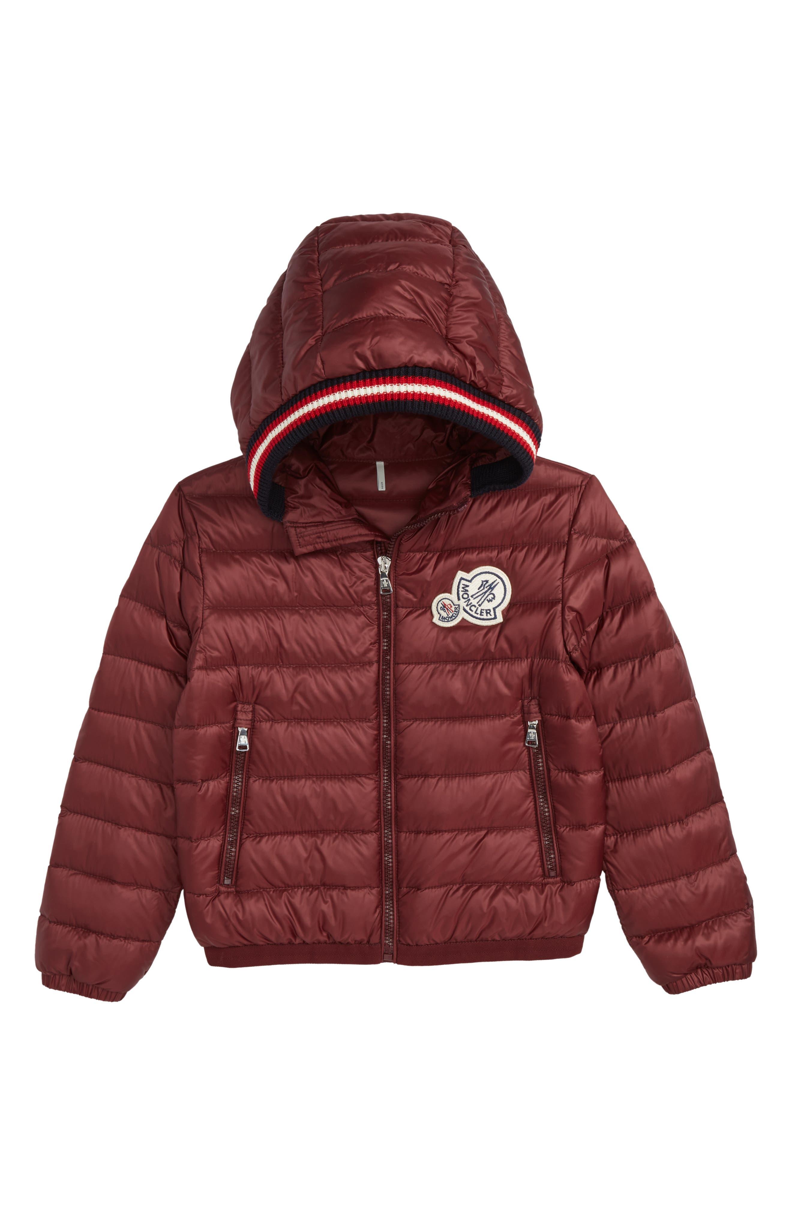 Xavier Long Season Hooded Down Jacket,                         Main,                         color, Dark Red