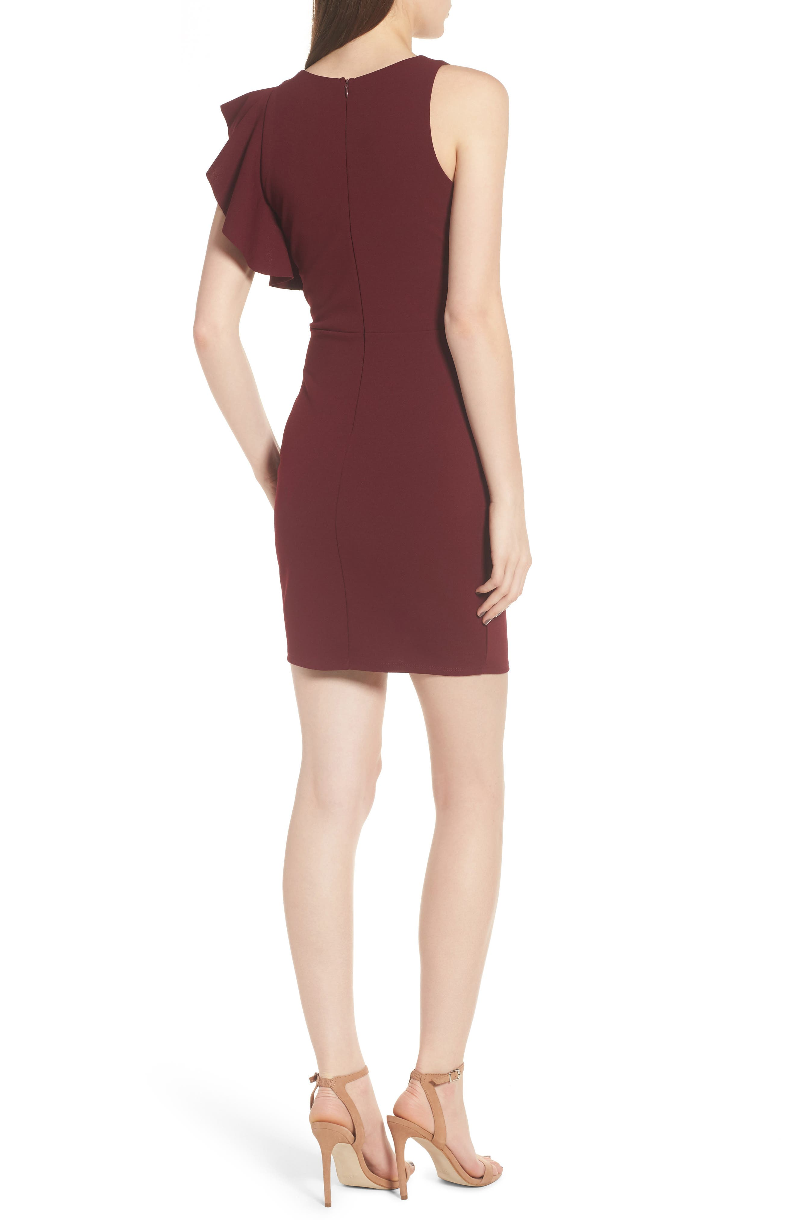 Ruffle Sleeve Body-Con Dress,                             Alternate thumbnail 2, color,                             Wine