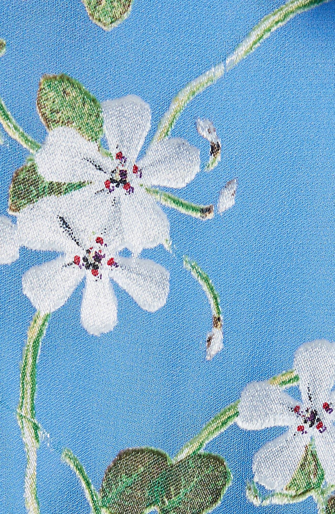 Tia Ruffle Floral Print Blouse,                             Alternate thumbnail 5, color,                             Spring Primrose-Cerulean