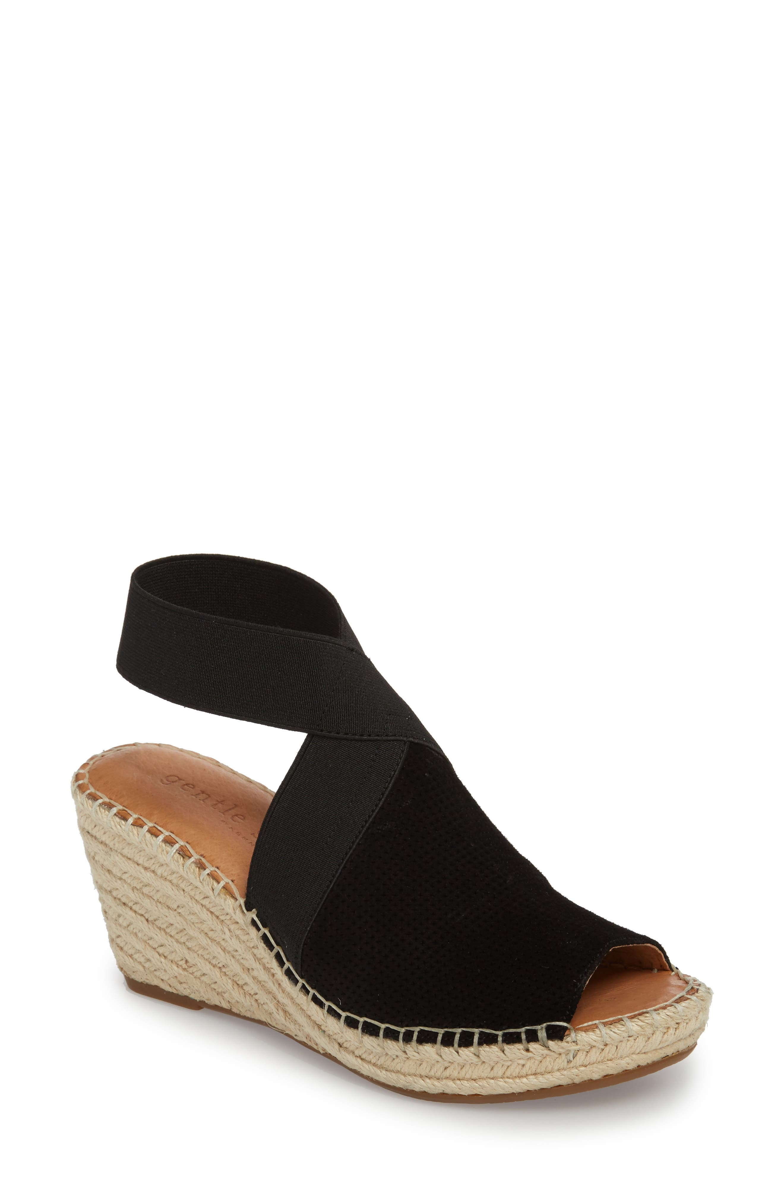 by Kenneth Cole Colleen Espadrille Wedge,                         Main,                         color, Black Suede
