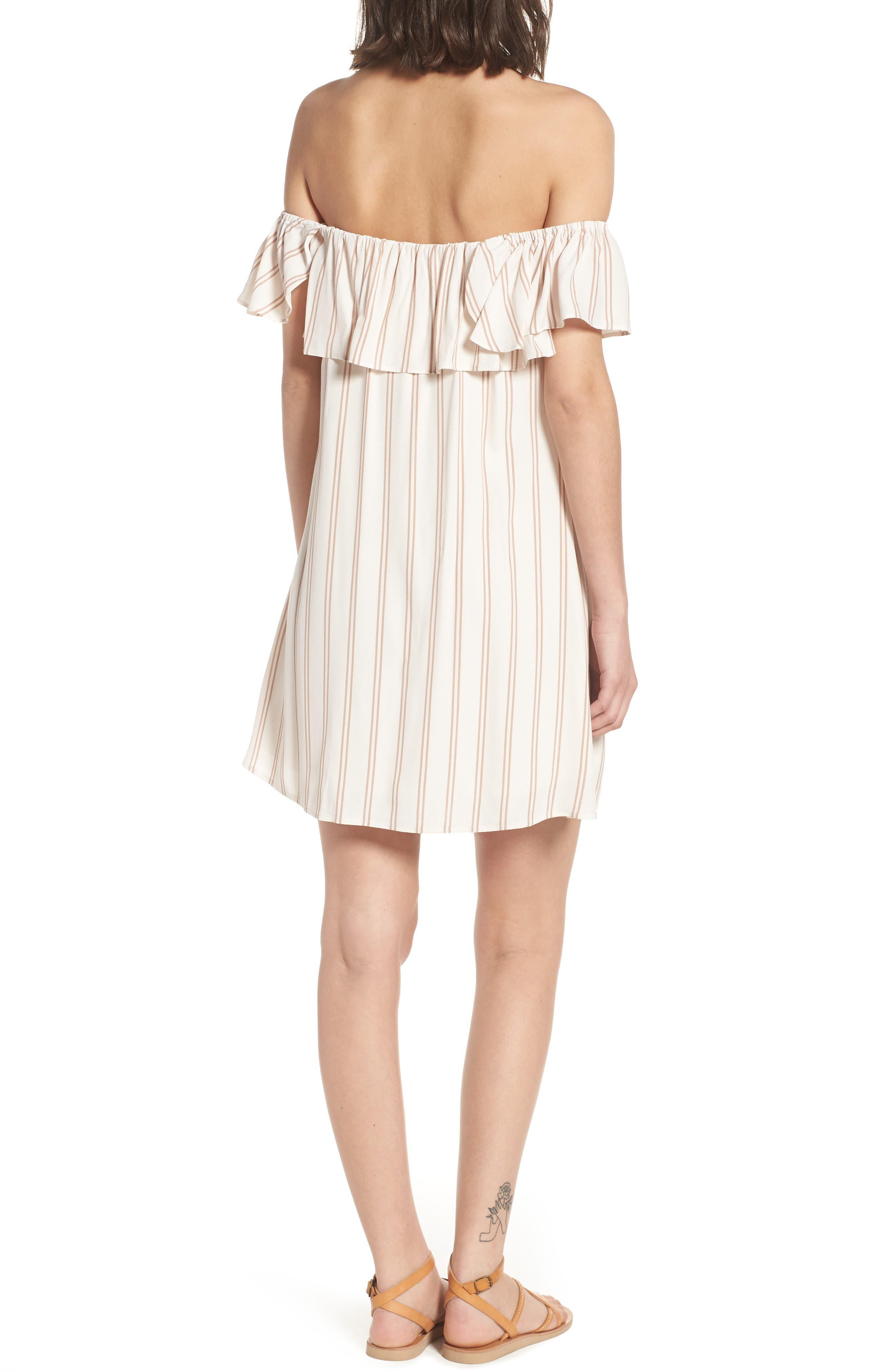 Stripe Off the Shoulder Dress,                             Alternate thumbnail 2, color,                             Ivory Egret Emily Stripe