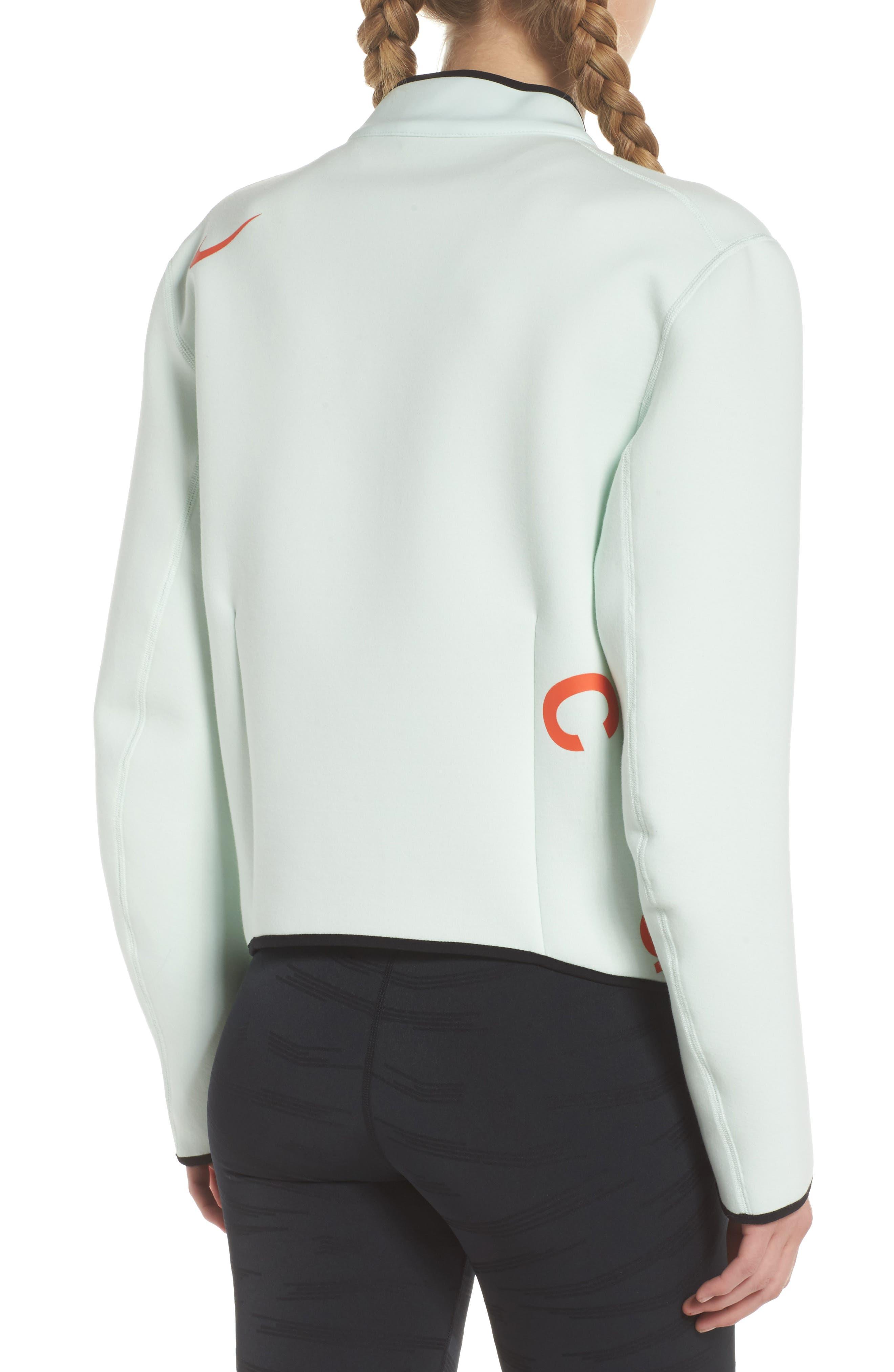 NikeLab ACG Fleece Women's Crewneck Top,                             Alternate thumbnail 2, color,                             Barely Green/ Team Orange