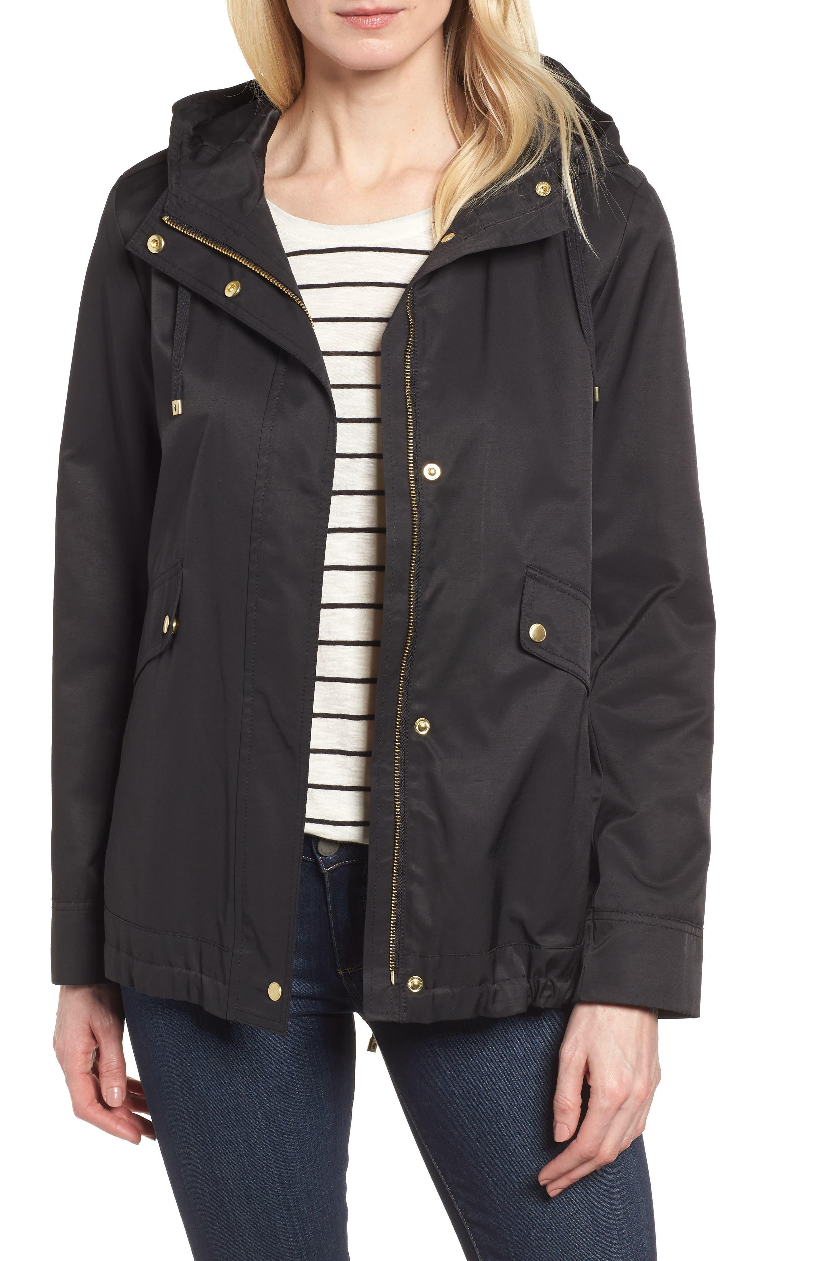 A-Line Jacket with Hood,                             Main thumbnail 1, color,                             Black