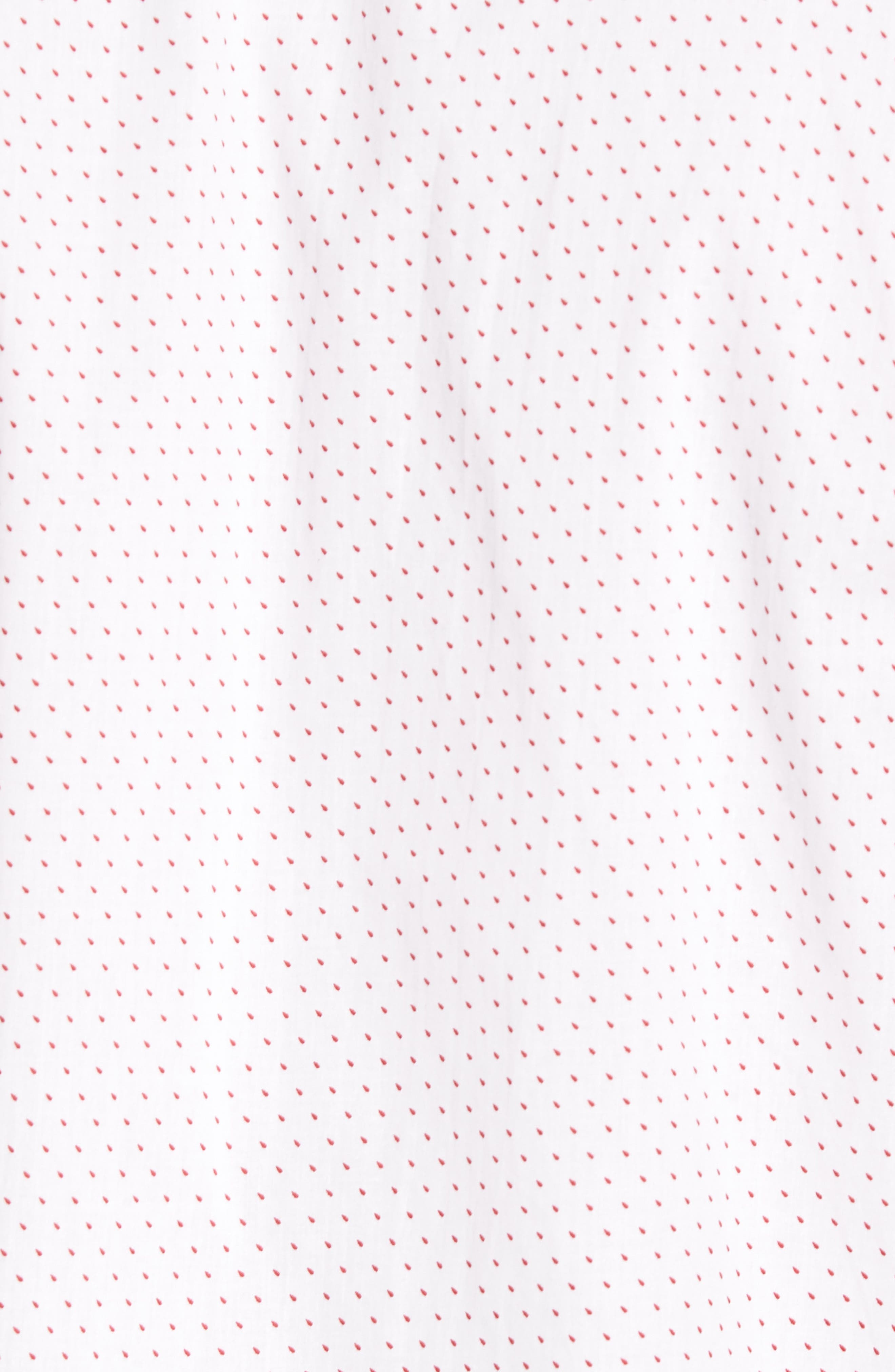 Dot Print Shirt,                             Alternate thumbnail 5, color,                             Canvas / Red Coral