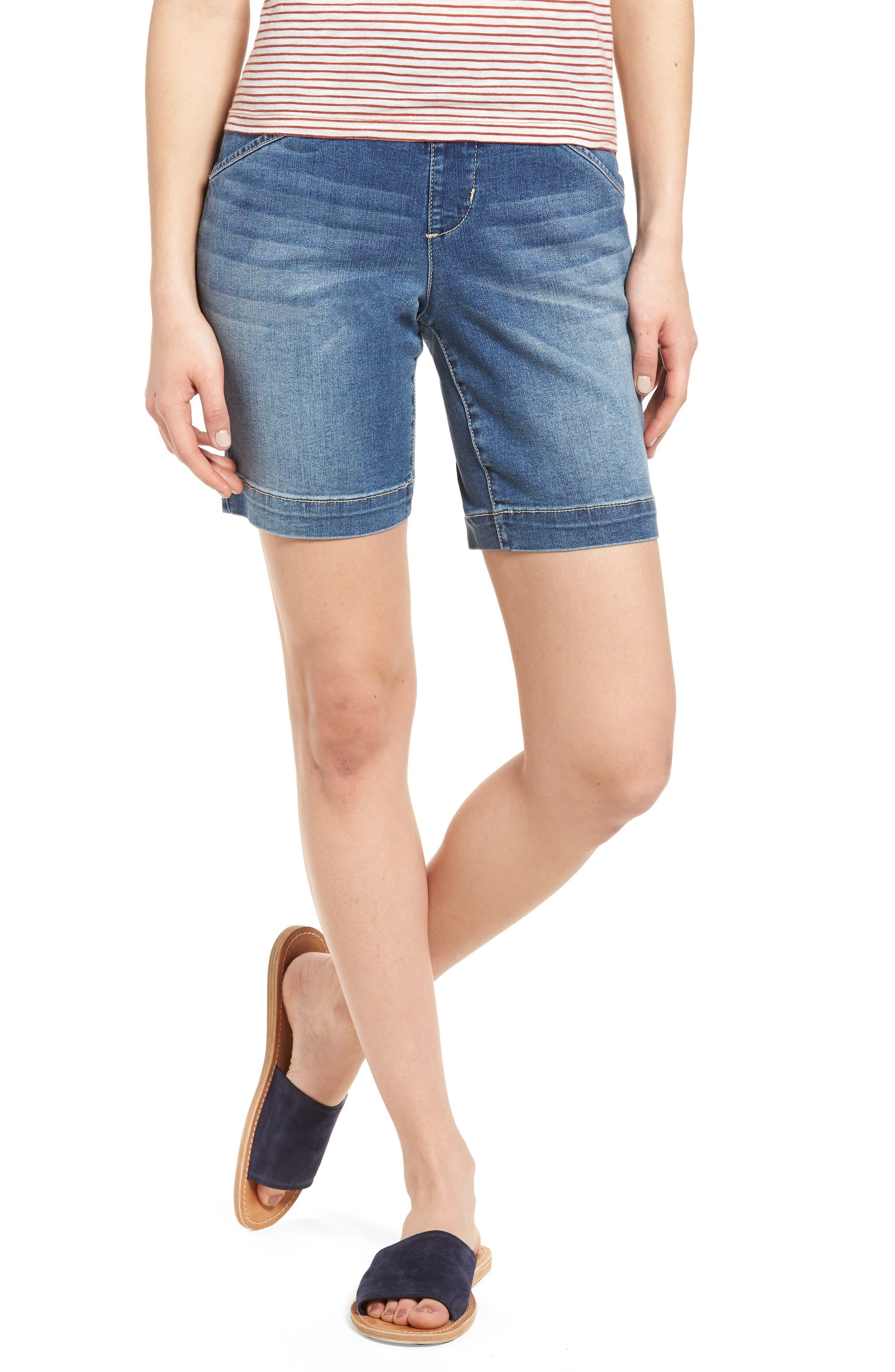 Ainsley Pull-On Stretch Denim Shorts,                         Main,                         color, Med Indigo