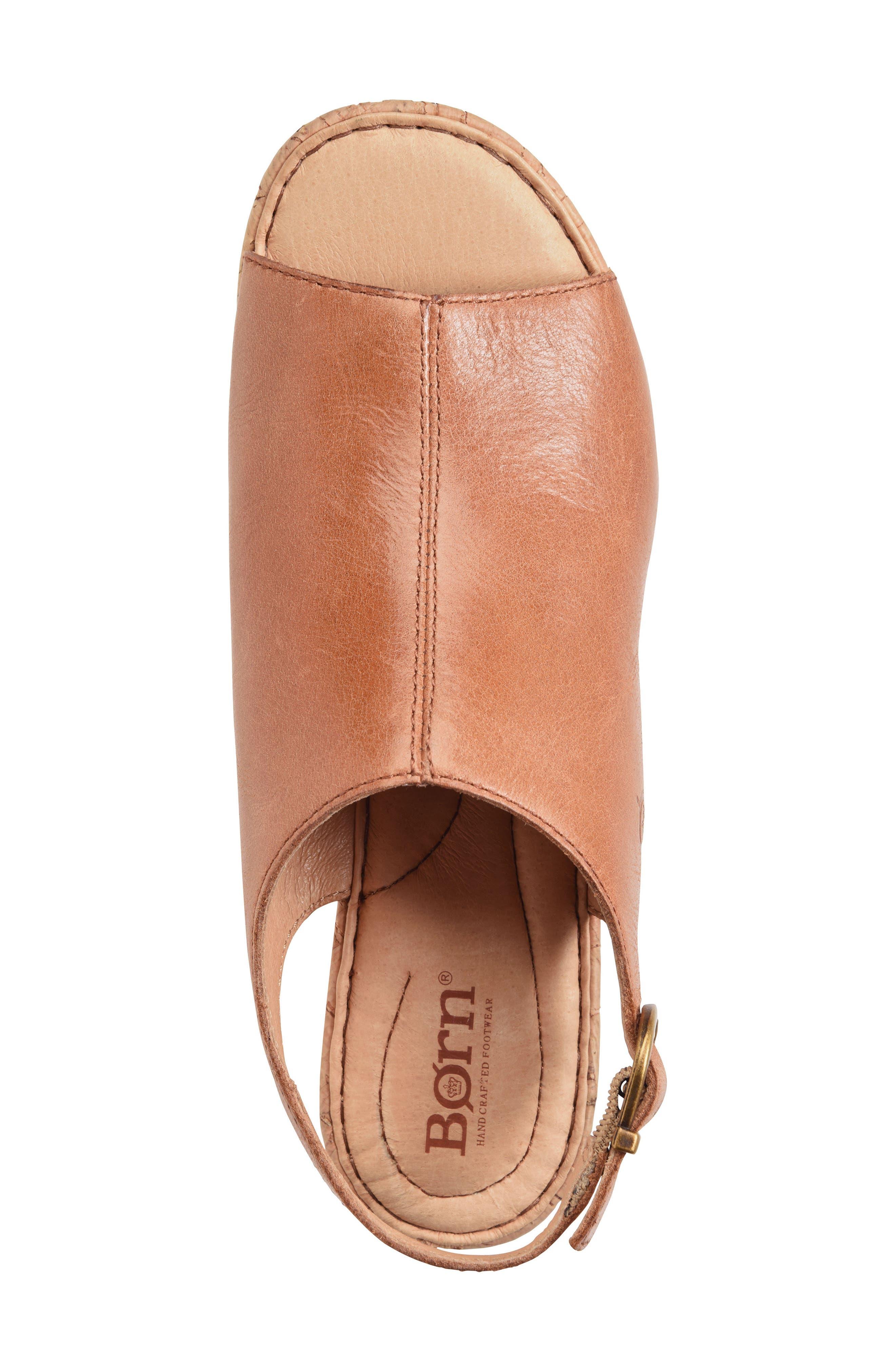 Orbit Platform Wedge Sandal,                             Alternate thumbnail 5, color,                             Brown Leather