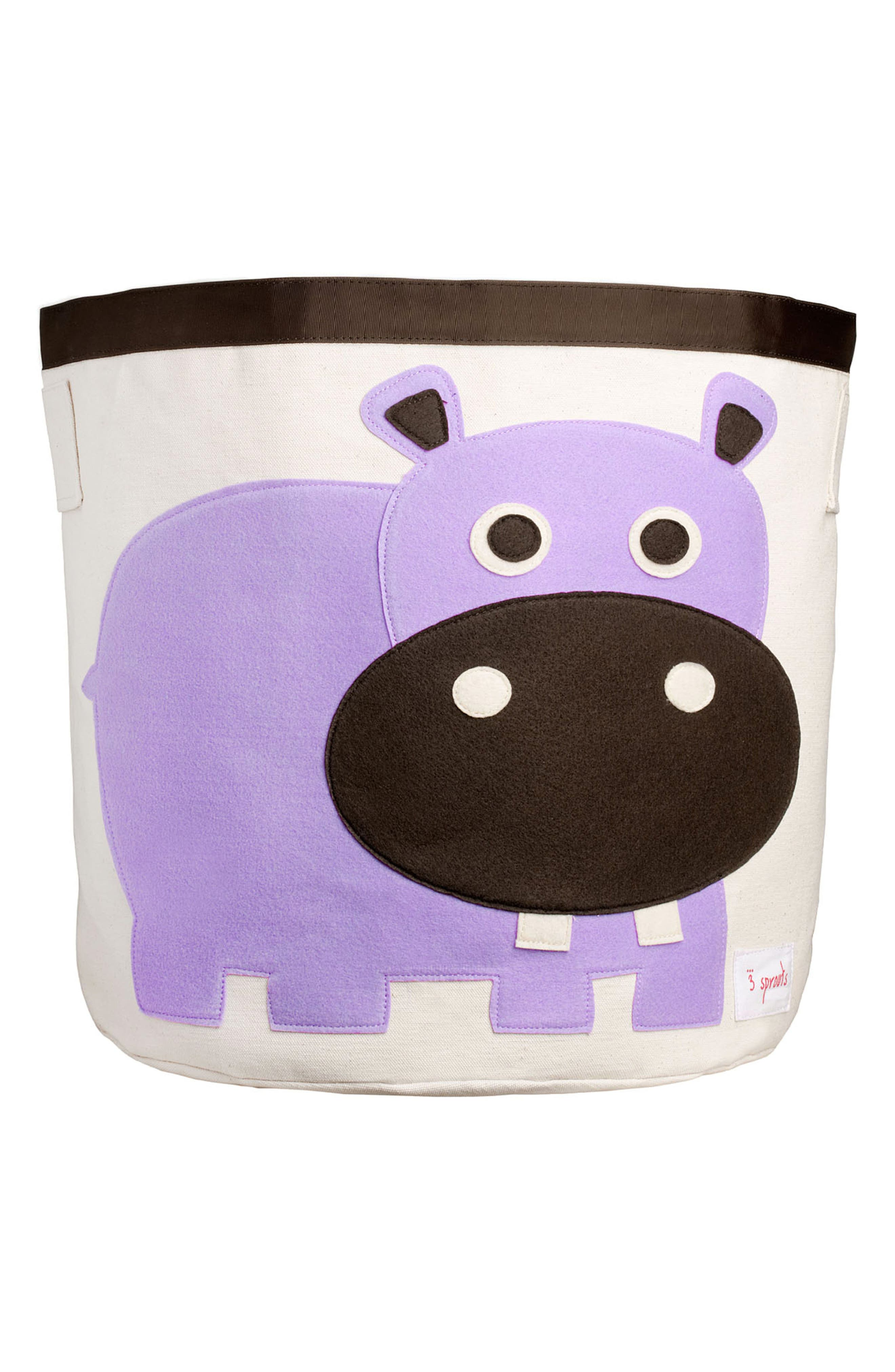Hippo Canvas Storage Bin,                             Main thumbnail 1, color,                             Purple
