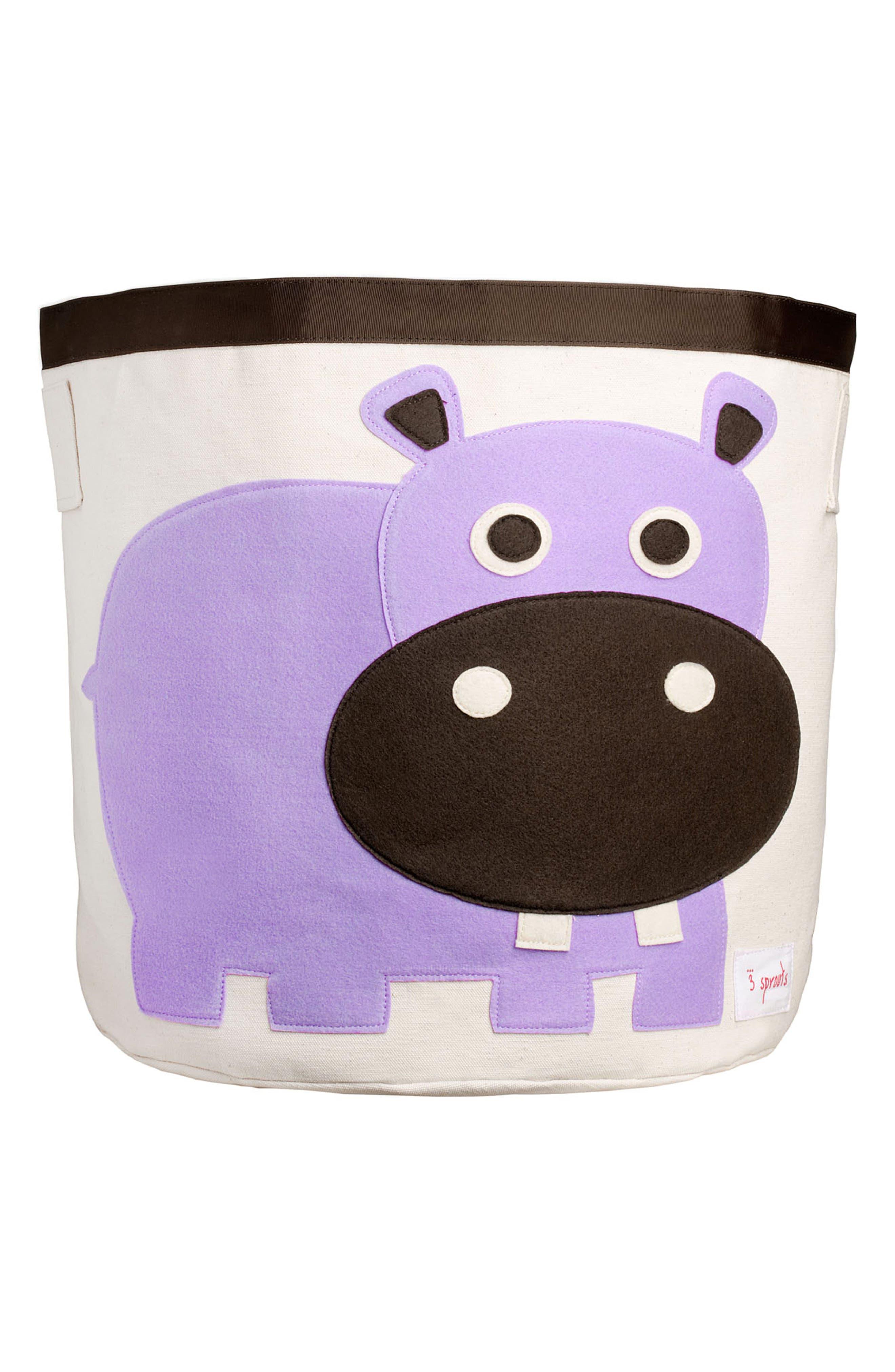 Hippo Canvas Storage Bin,                         Main,                         color, Purple