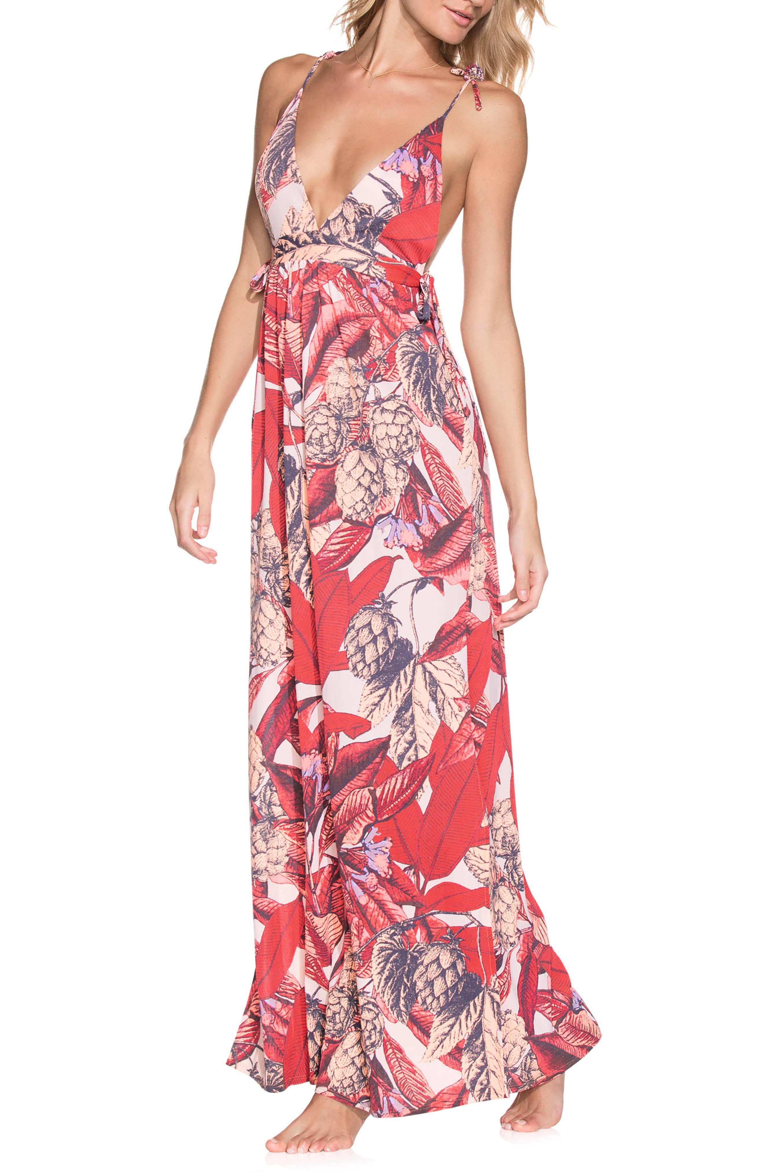 Native Soul Cover-Up Dress,                             Main thumbnail 1, color,                             Red Multi
