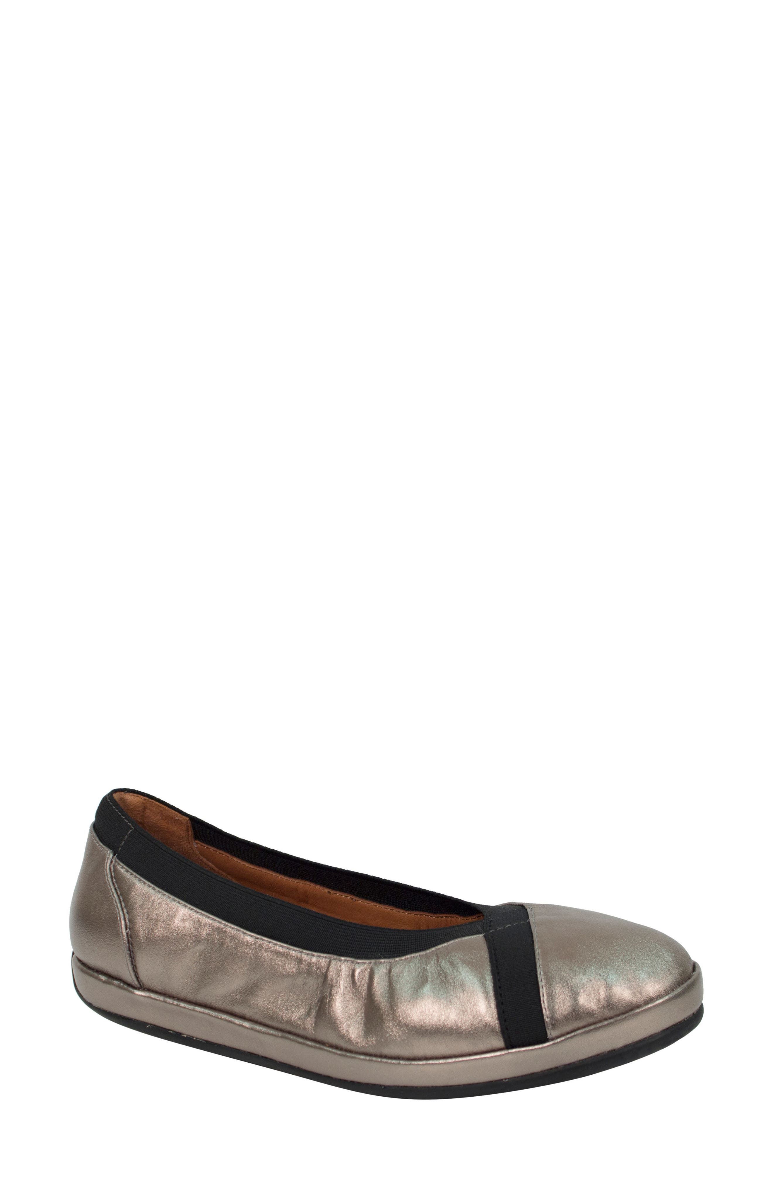 Yerusha Flat,                             Main thumbnail 1, color,                             Pewter Leather