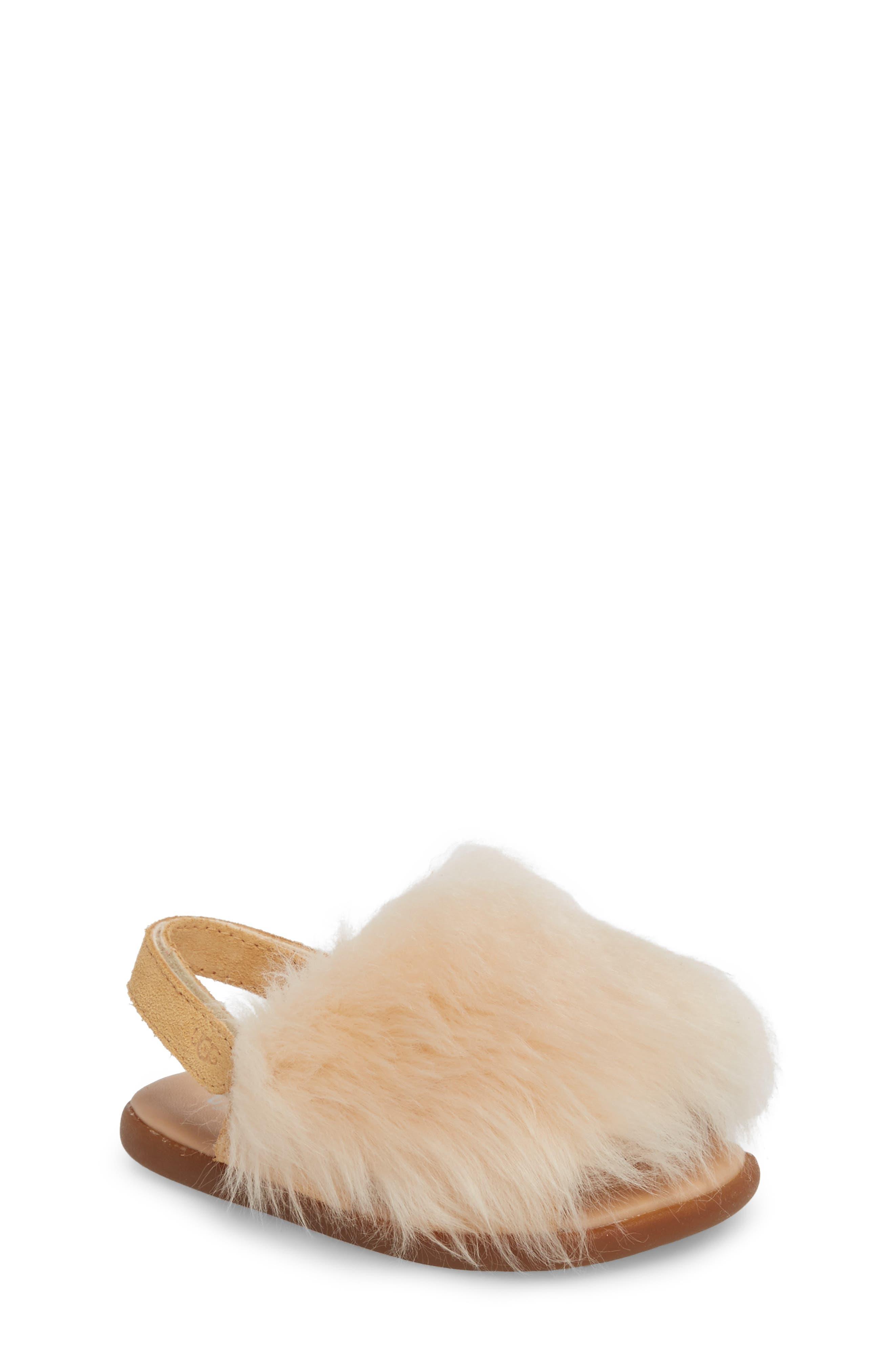 Holly Genuine Shearling Sandal,                             Main thumbnail 1, color,                             Soft Ochre