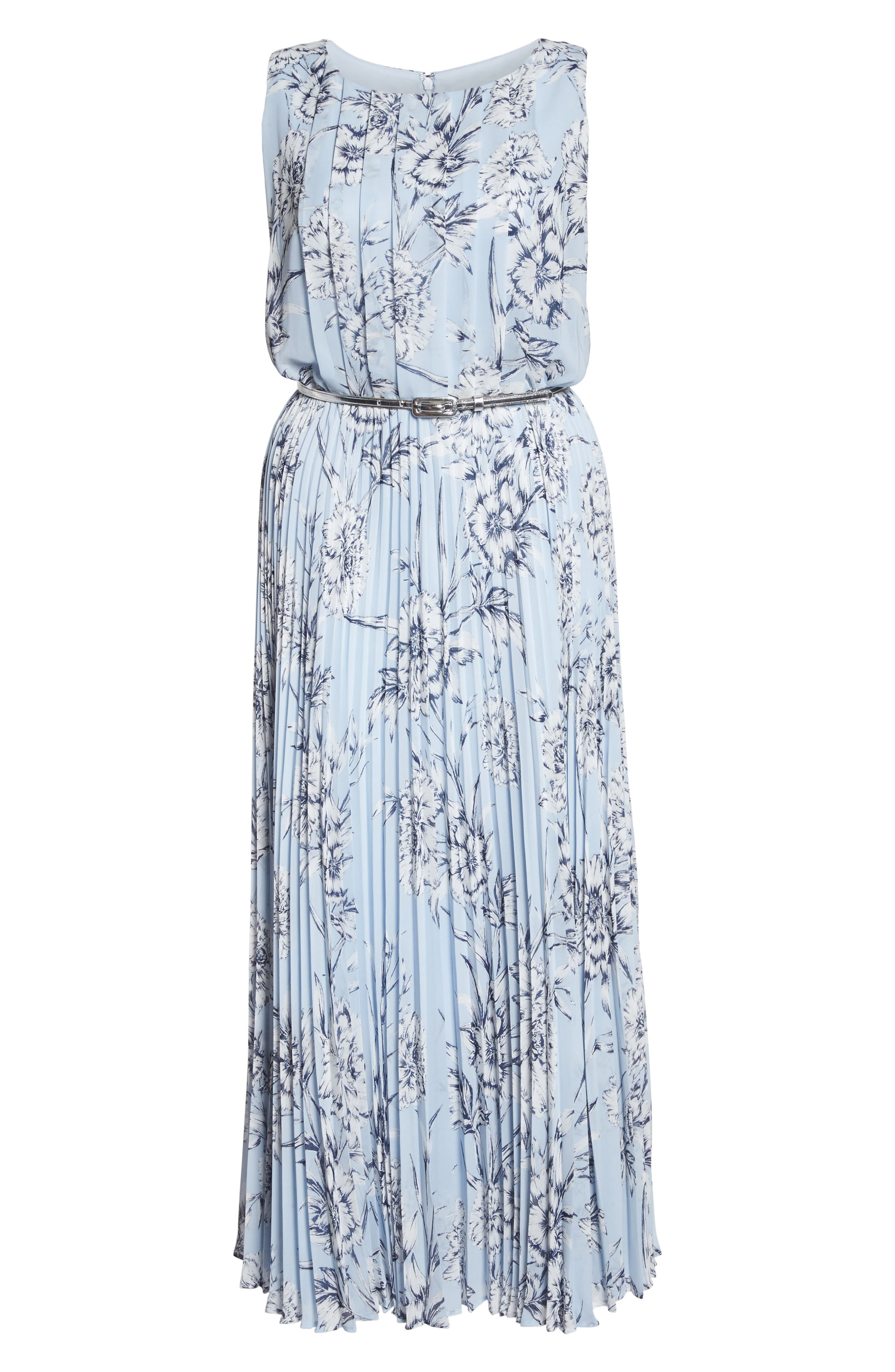Belted Floral Maxi Dress,                             Alternate thumbnail 6, color,                             Blue