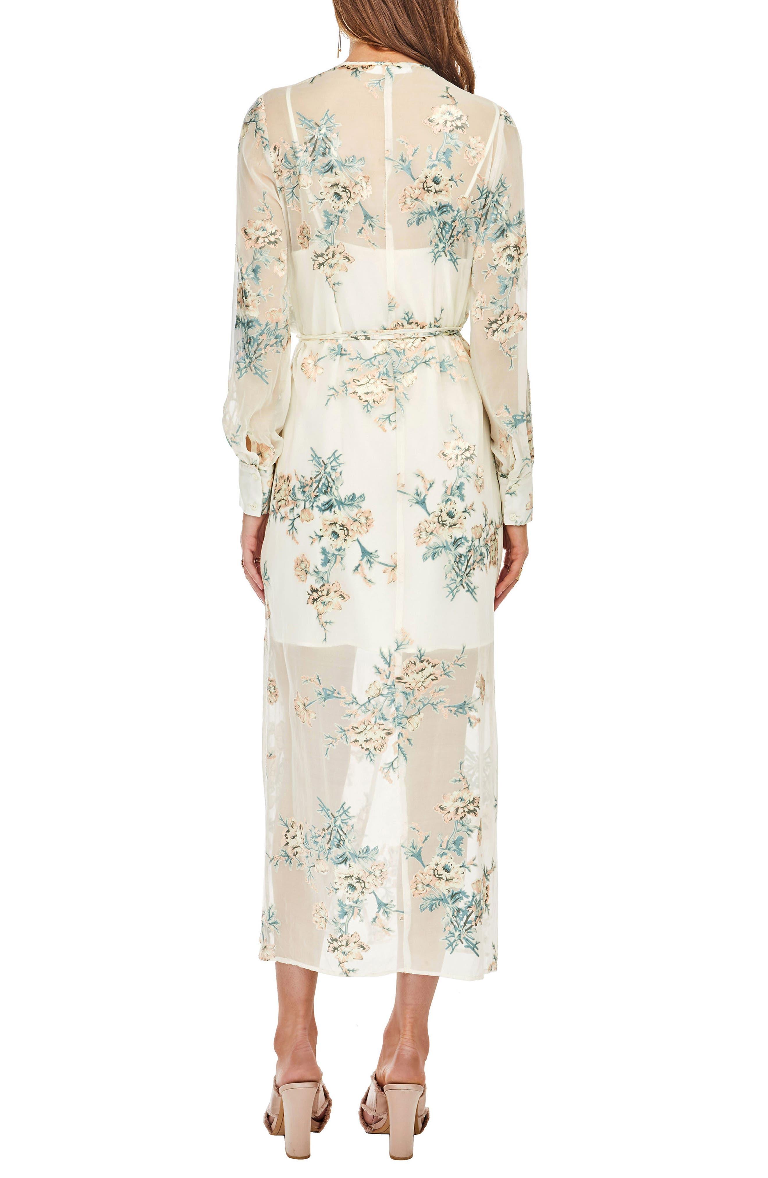 Riley Wrap Midi Dress,                             Alternate thumbnail 3, color,                             Cream/Blush Floral