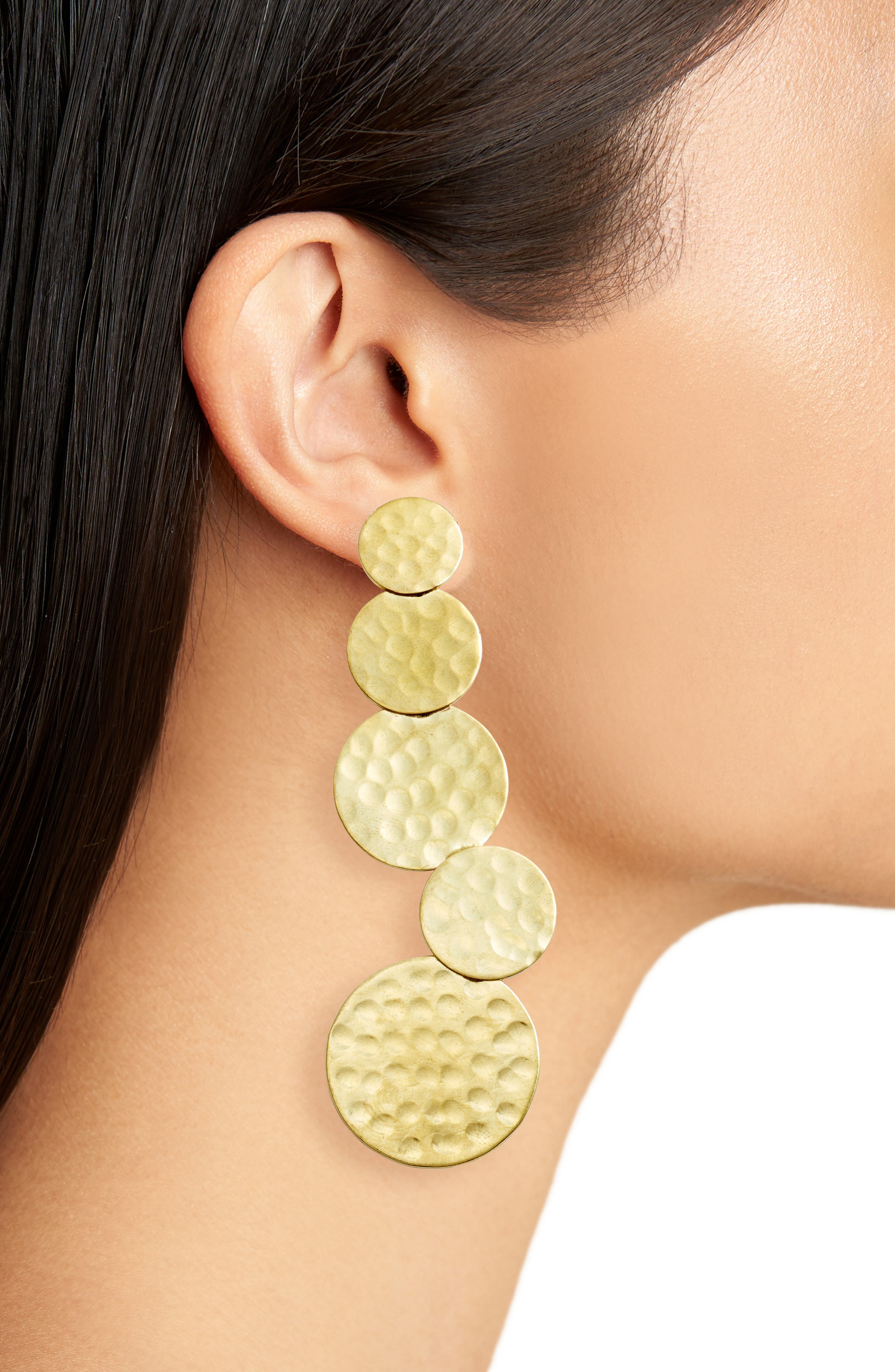 Taylor Hammered Statement Earrings,                             Alternate thumbnail 2, color,                             Gold