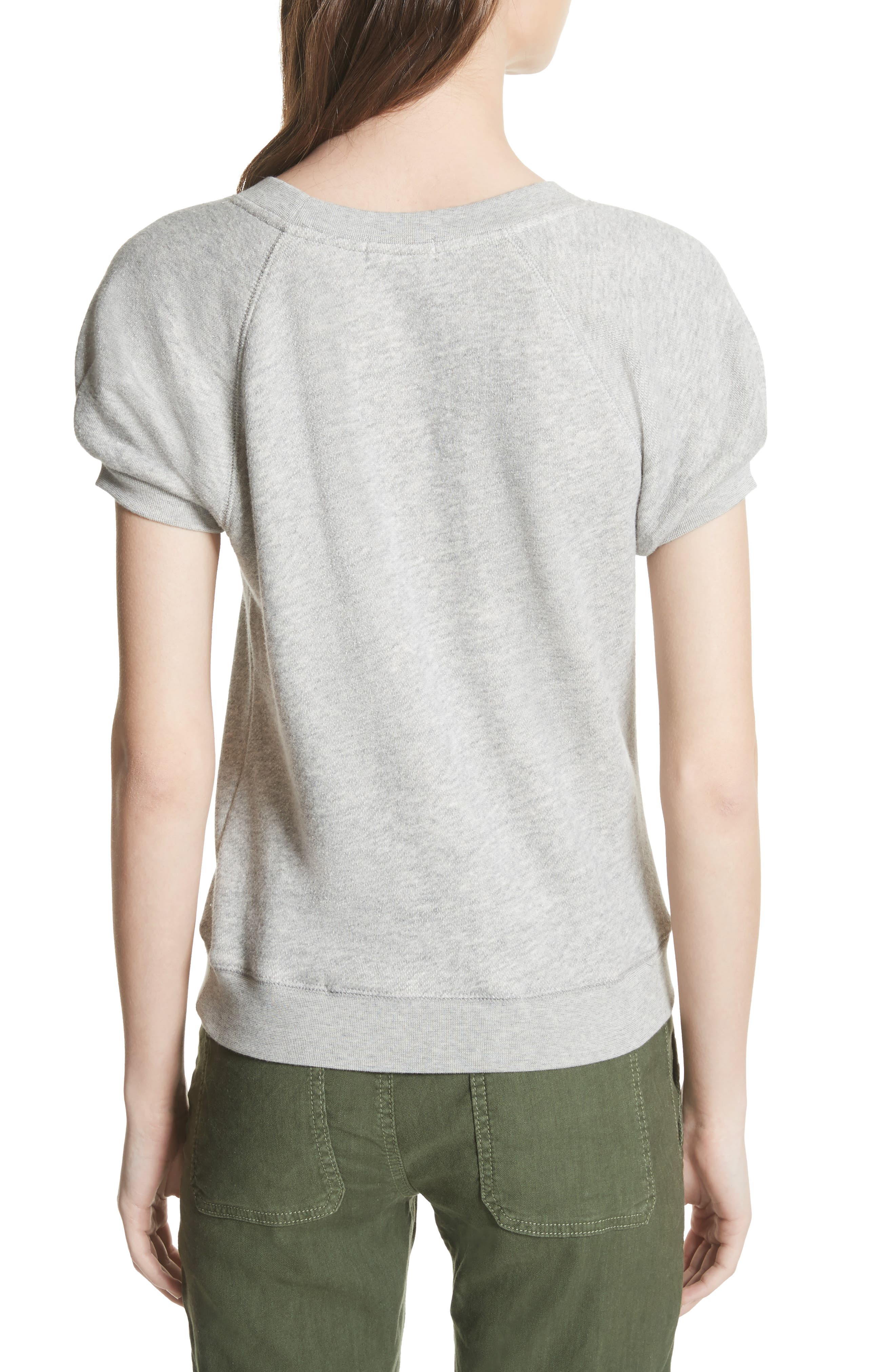 Christal Puff Sleeve Sweatshirt,                             Alternate thumbnail 2, color,                             Heather Grey