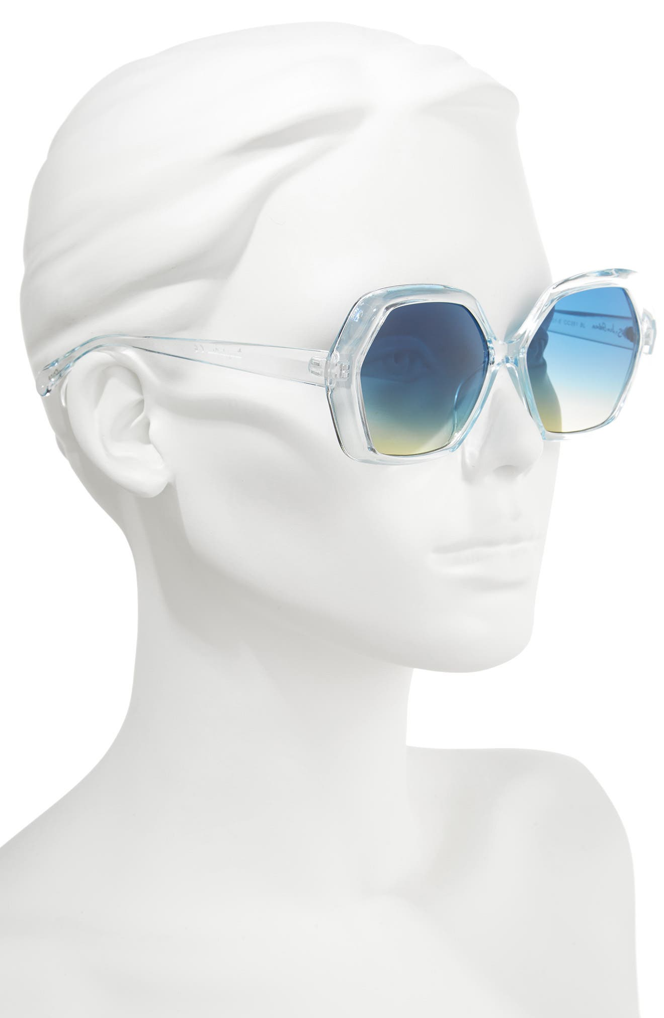 57mm Geo Glam Sunglasses,                             Alternate thumbnail 2, color,                             Blue