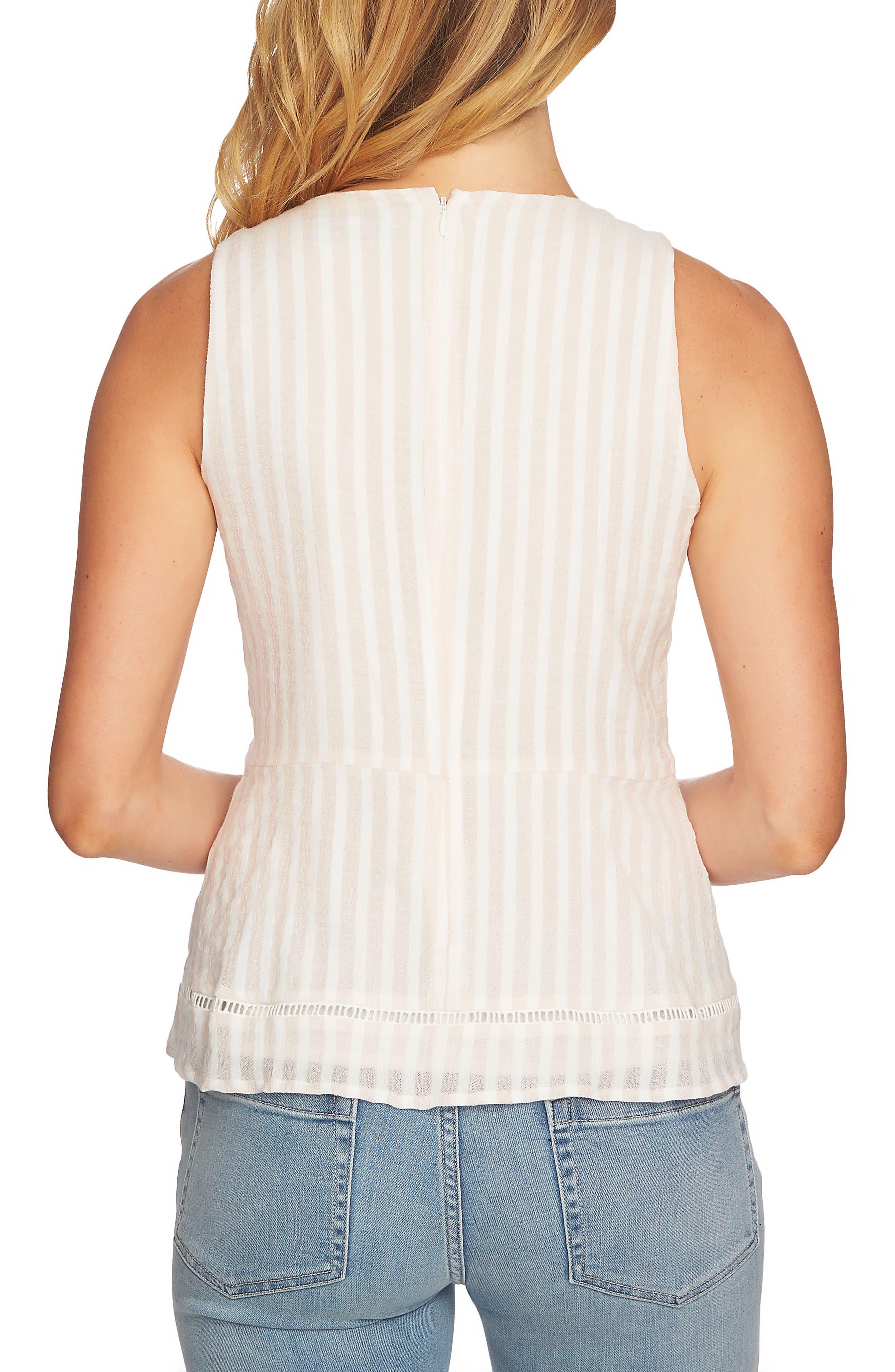 Striped Pintuck Cotton Blouse,                             Alternate thumbnail 2, color,                             Floret Pink
