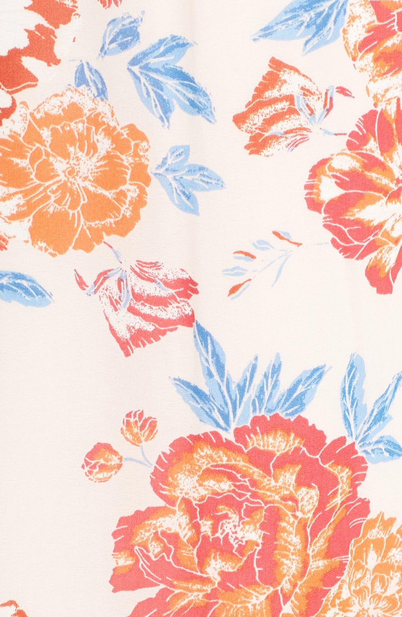 Floral Tie Waist Maxi Dress,                             Alternate thumbnail 6, color,                             Pink/ Coral Multi