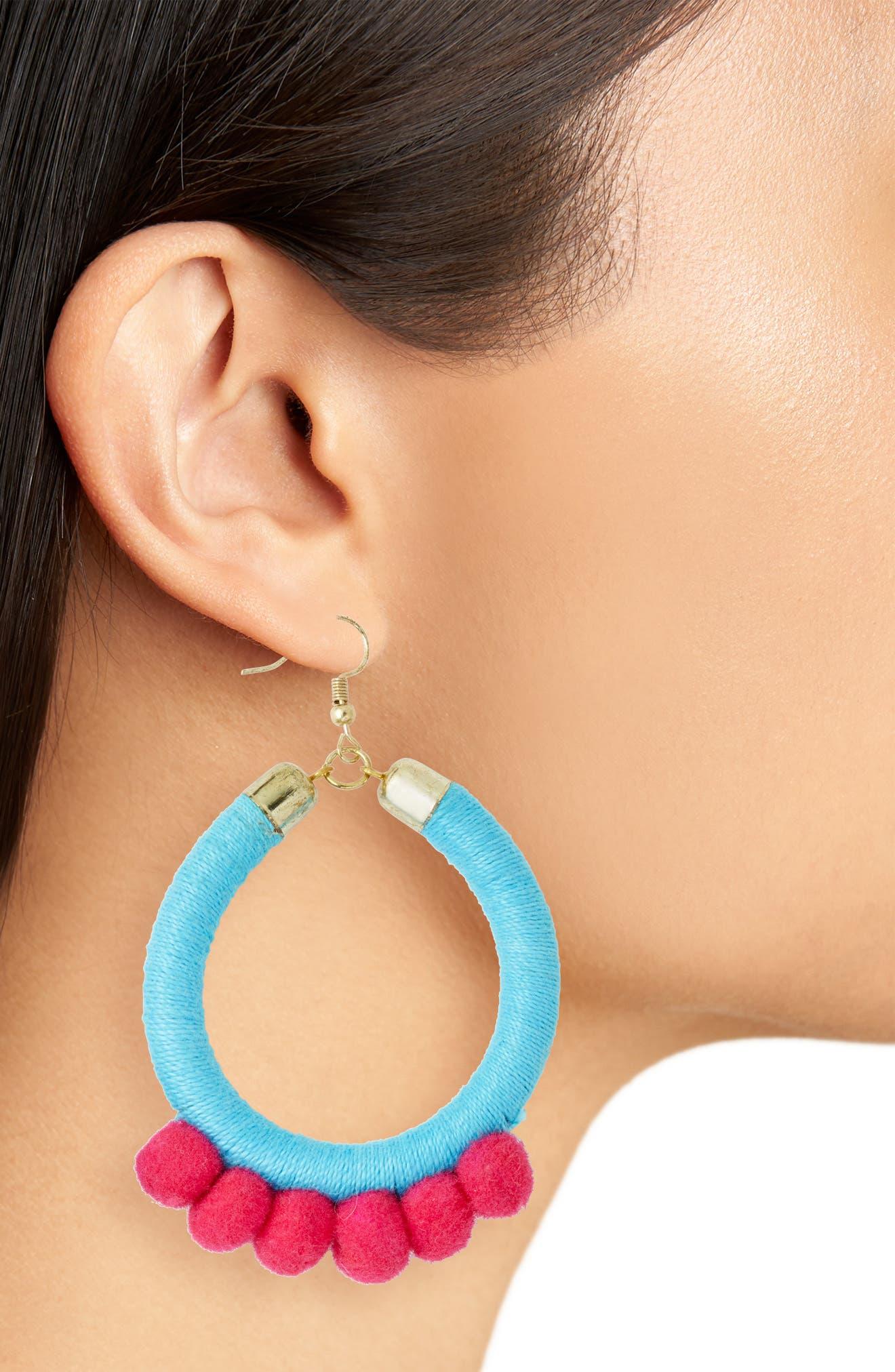 Lauren Pom Hoop Earrings,                             Alternate thumbnail 2, color,                             Turquoise/ Fuschia