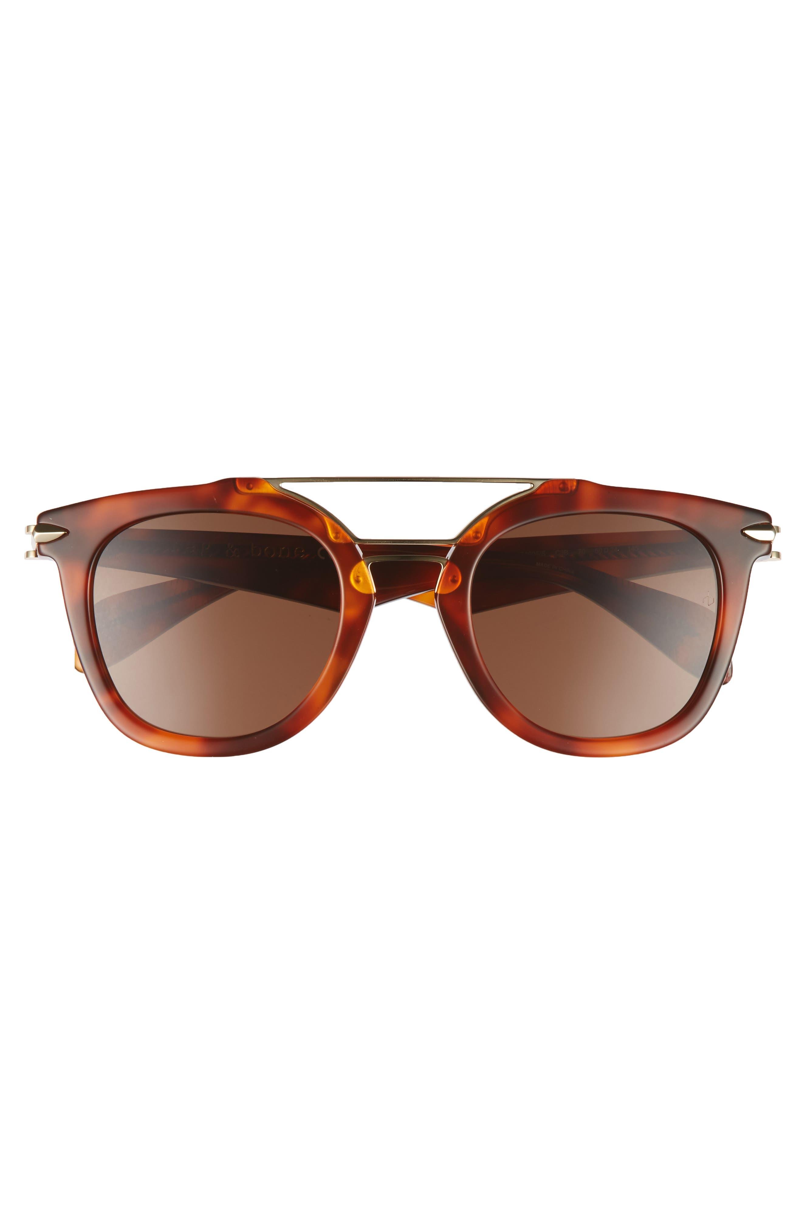 50mm Round Aviator Sunglasses,                             Alternate thumbnail 3, color,                             Havana Honey