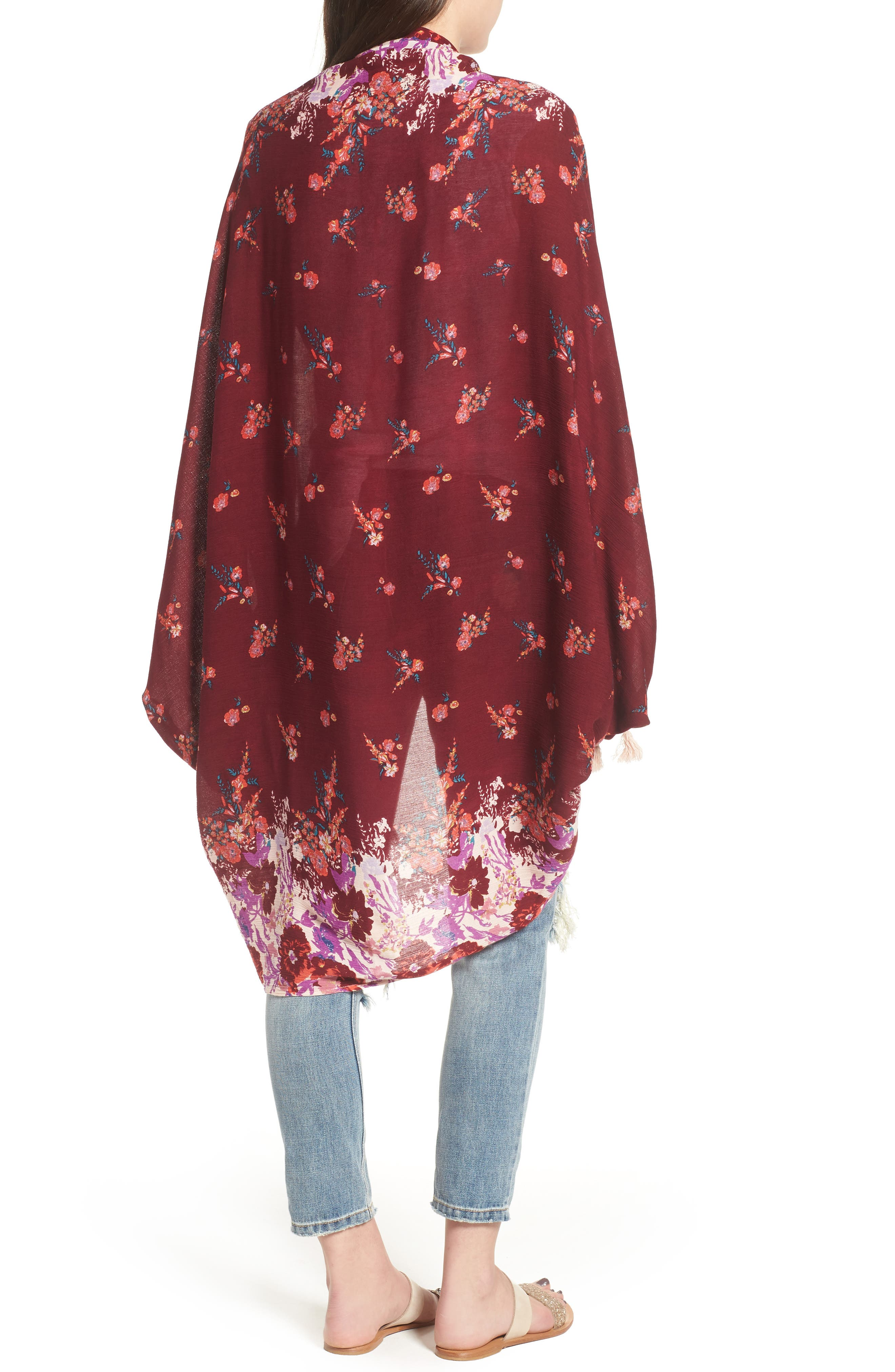 Bali Wrapped In Blooms Shawl,                             Alternate thumbnail 2, color,                             Red Combo