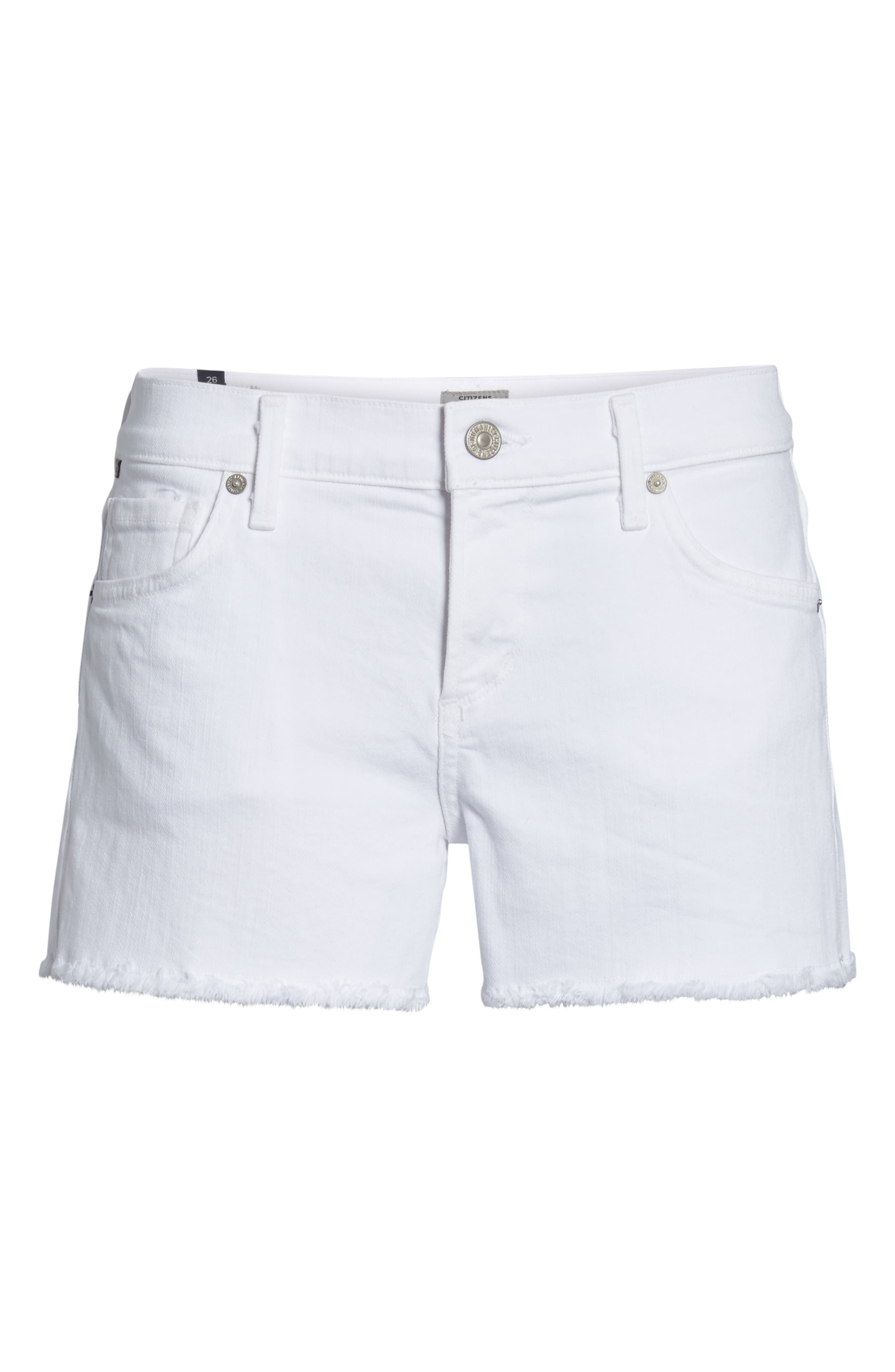 Ava Cutoff Denim Shorts,                             Alternate thumbnail 7, color,                             Optic White