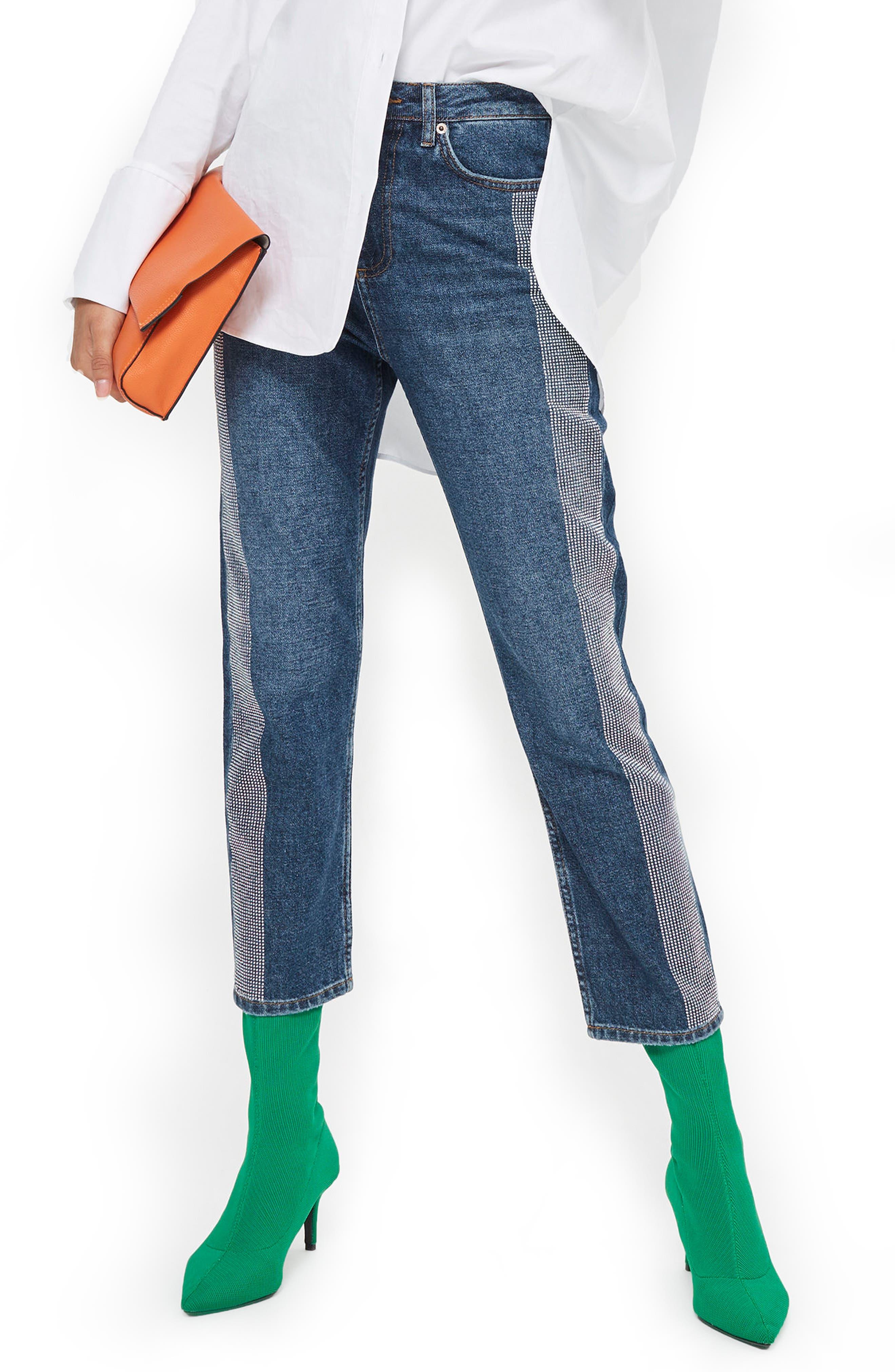 Diamante Stripe Straight Leg Jeans,                             Main thumbnail 1, color,                             Mid Denim