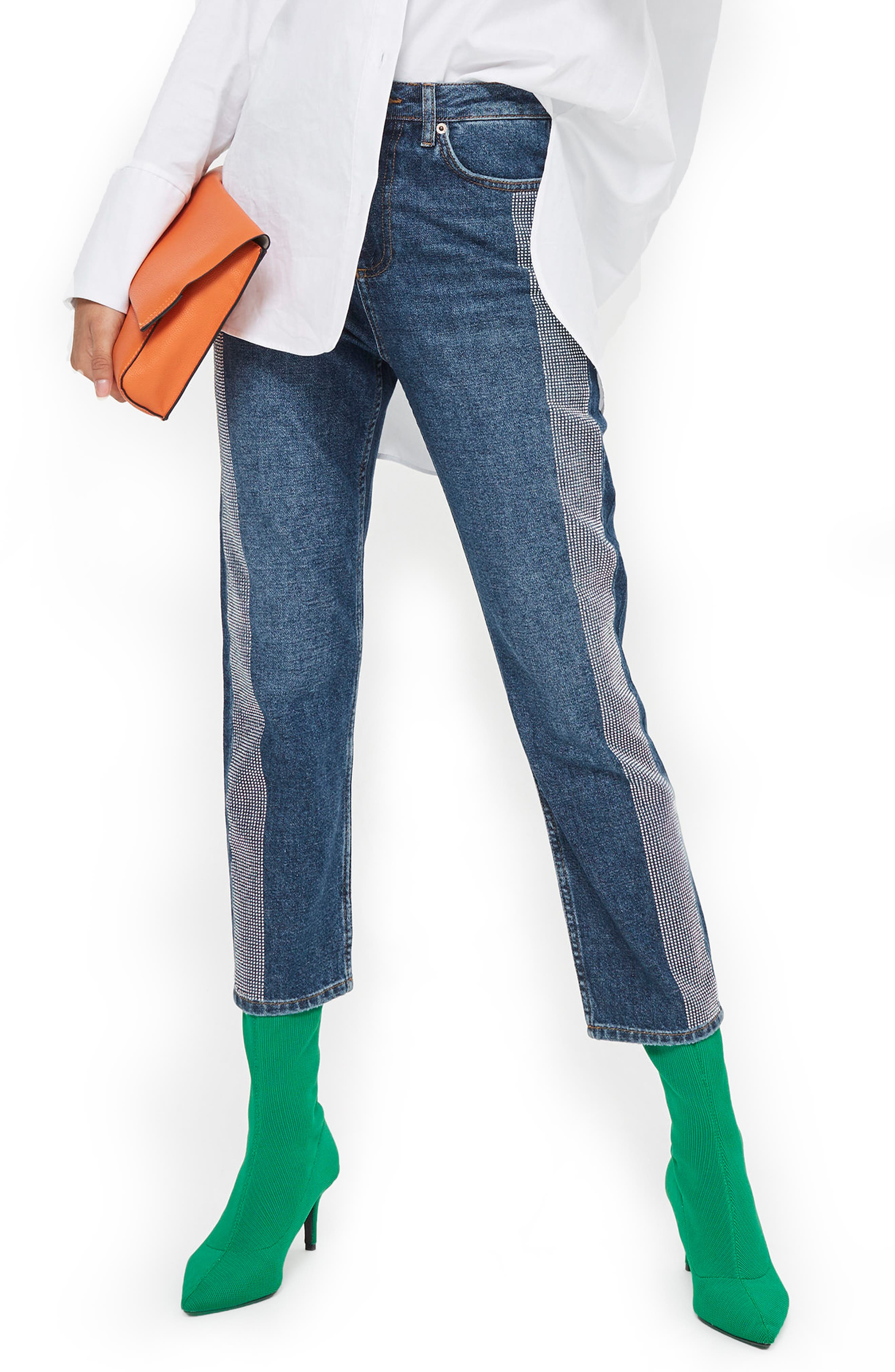 Diamante Stripe Straight Leg Jeans,                         Main,                         color, Mid Denim